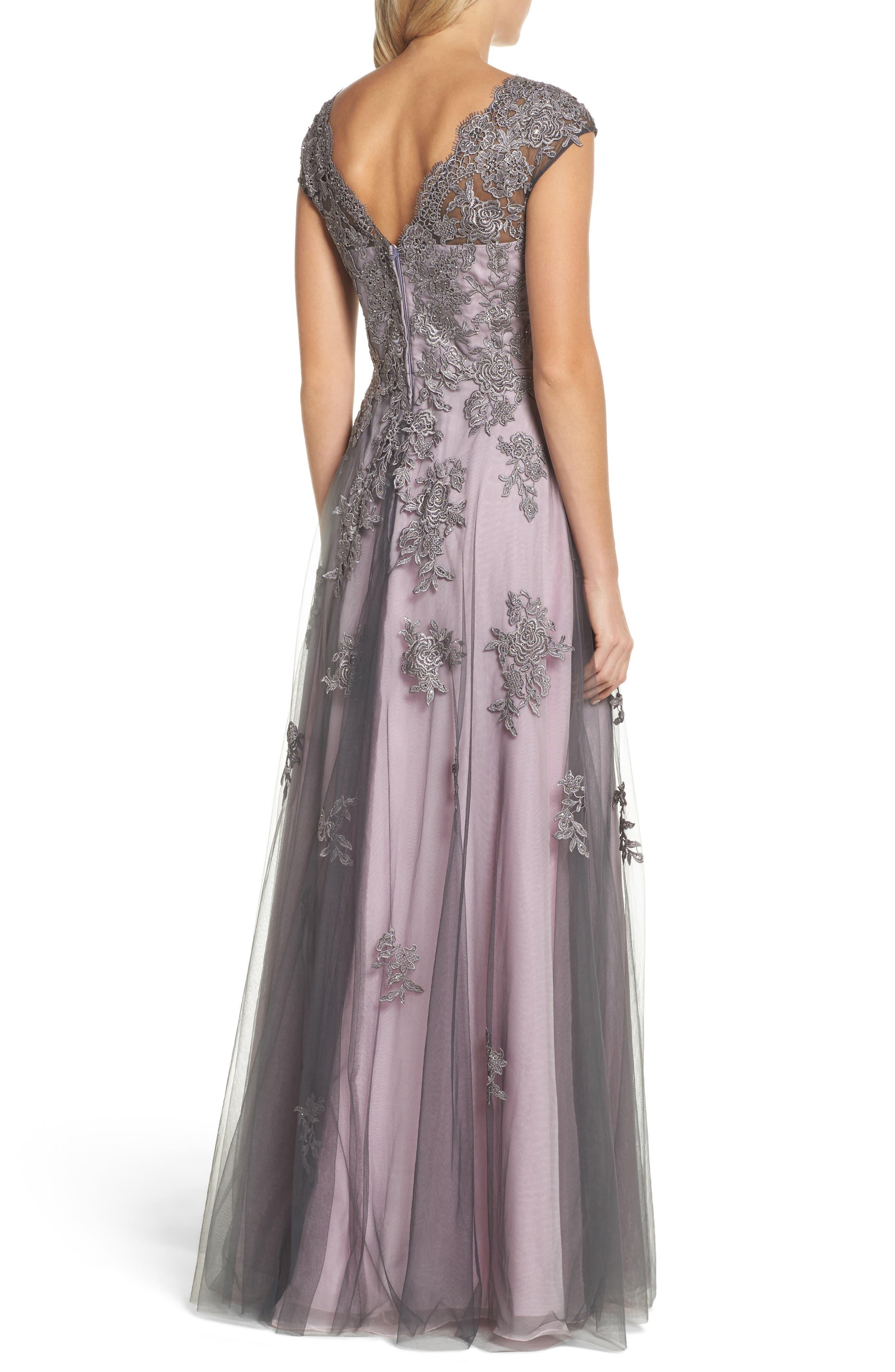 LA FEMME, Embellished Mesh A-Line Gown, Alternate thumbnail 2, color, PINK/ GRAY