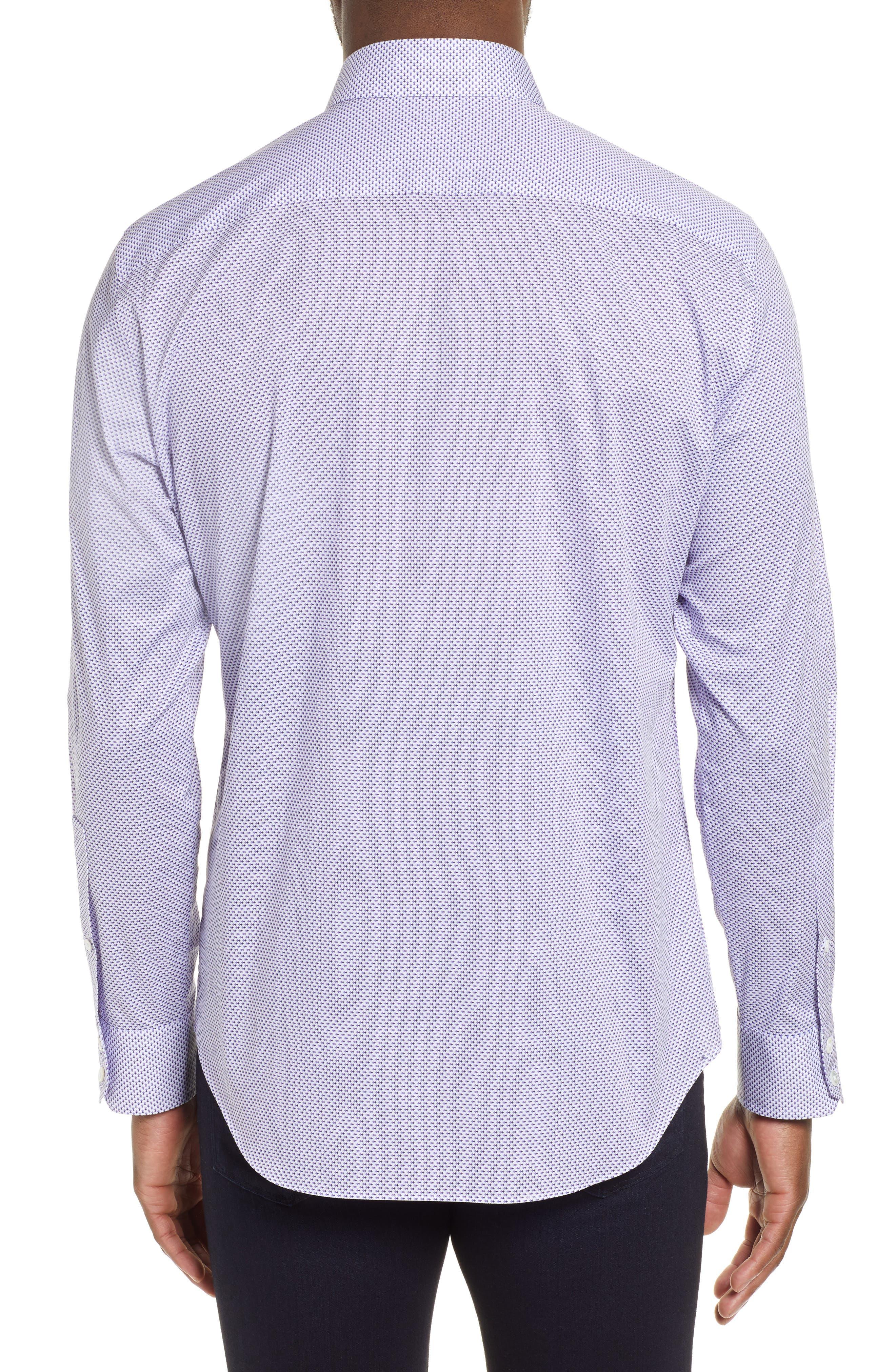 ZACHARY PRELL, Wilson Regular Fit Micro Print Sport Shirt, Alternate thumbnail 3, color, PURPLE