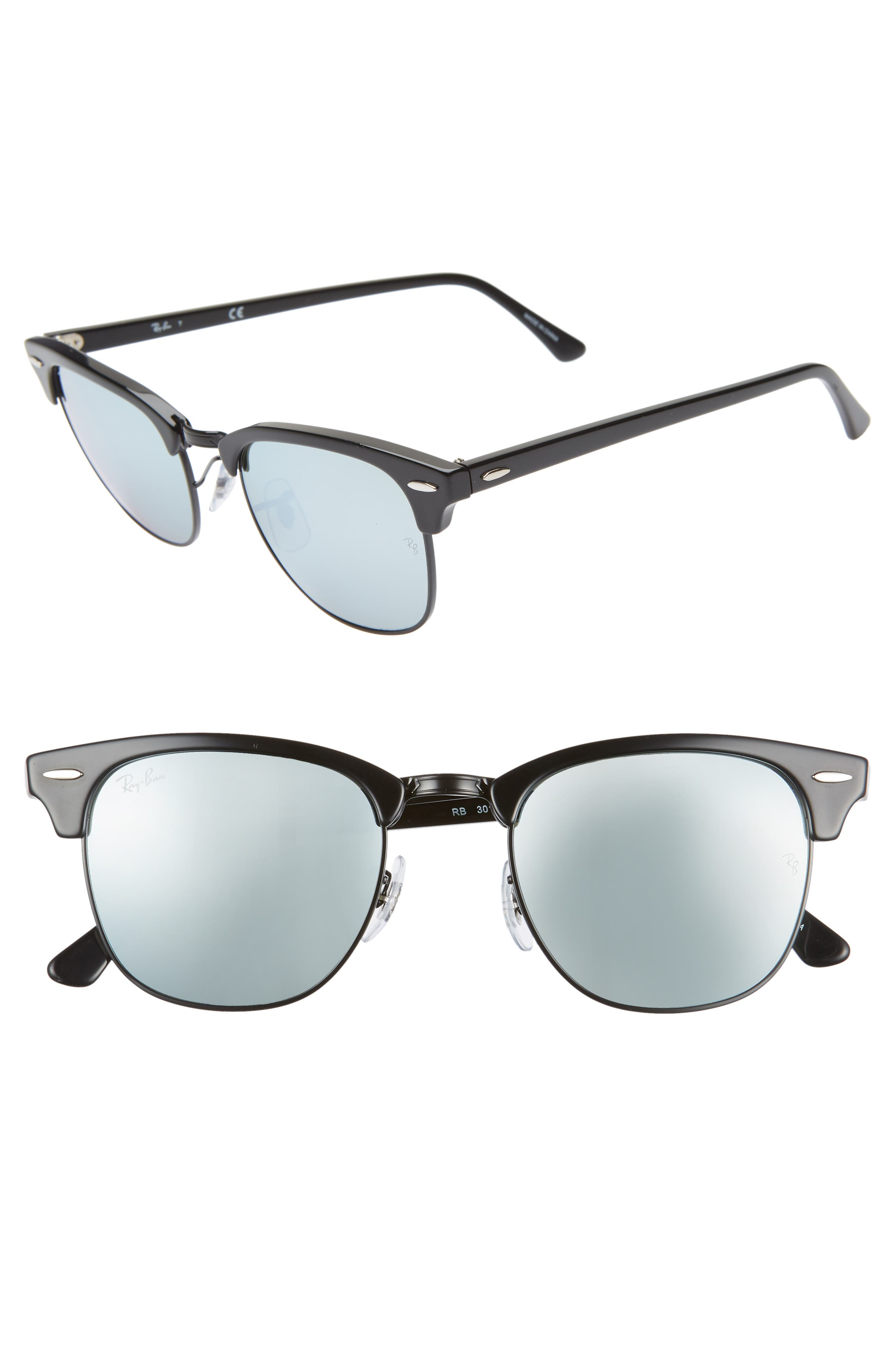 RAY-BAN, Standard Clubmaster 51mm Sunglasses, Main thumbnail 1, color, BLACK/ BLUE MIRROR