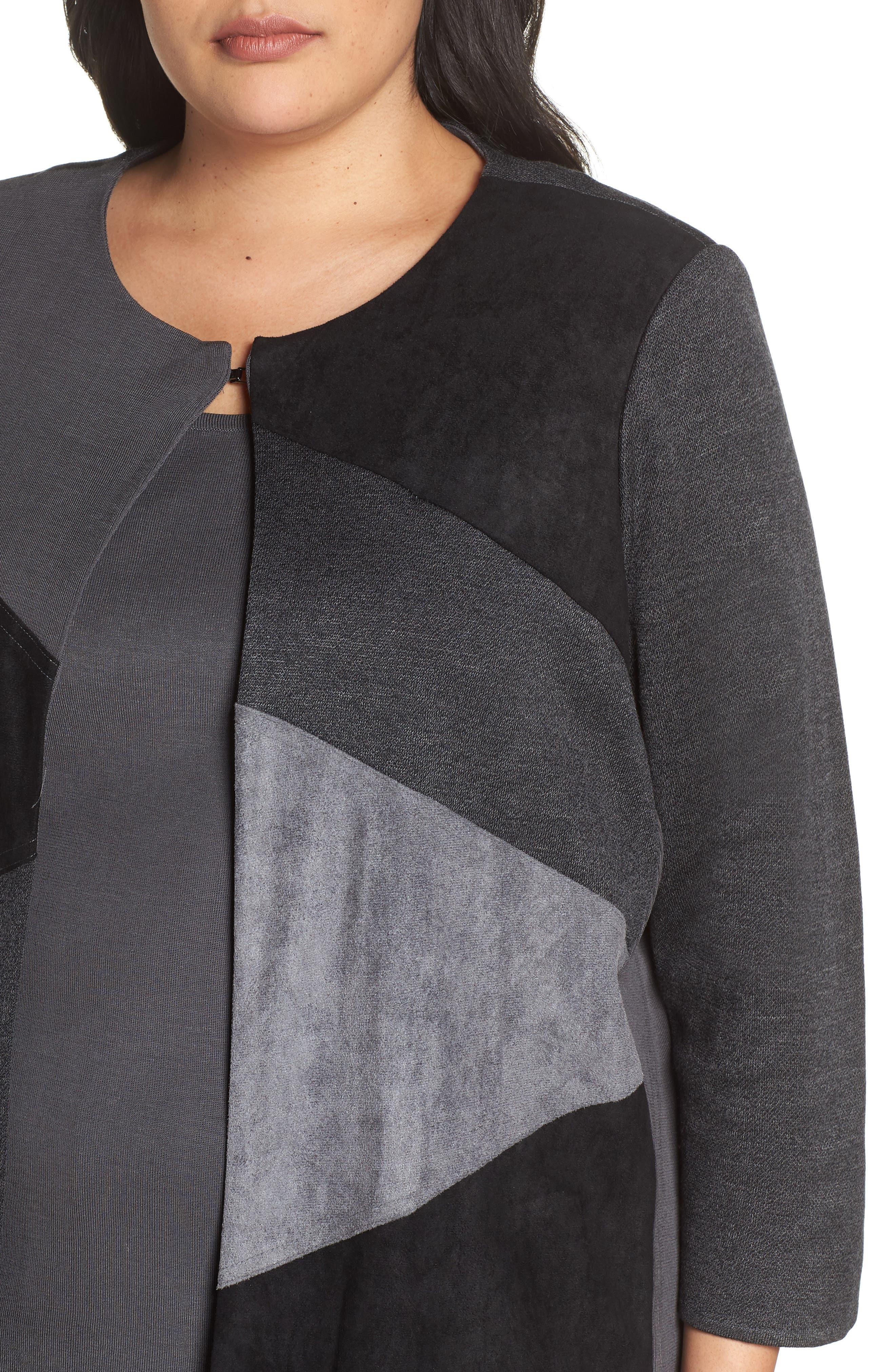 MING WANG, Colorblock Knit Jacket, Alternate thumbnail 5, color, BLACK/ GRANITE