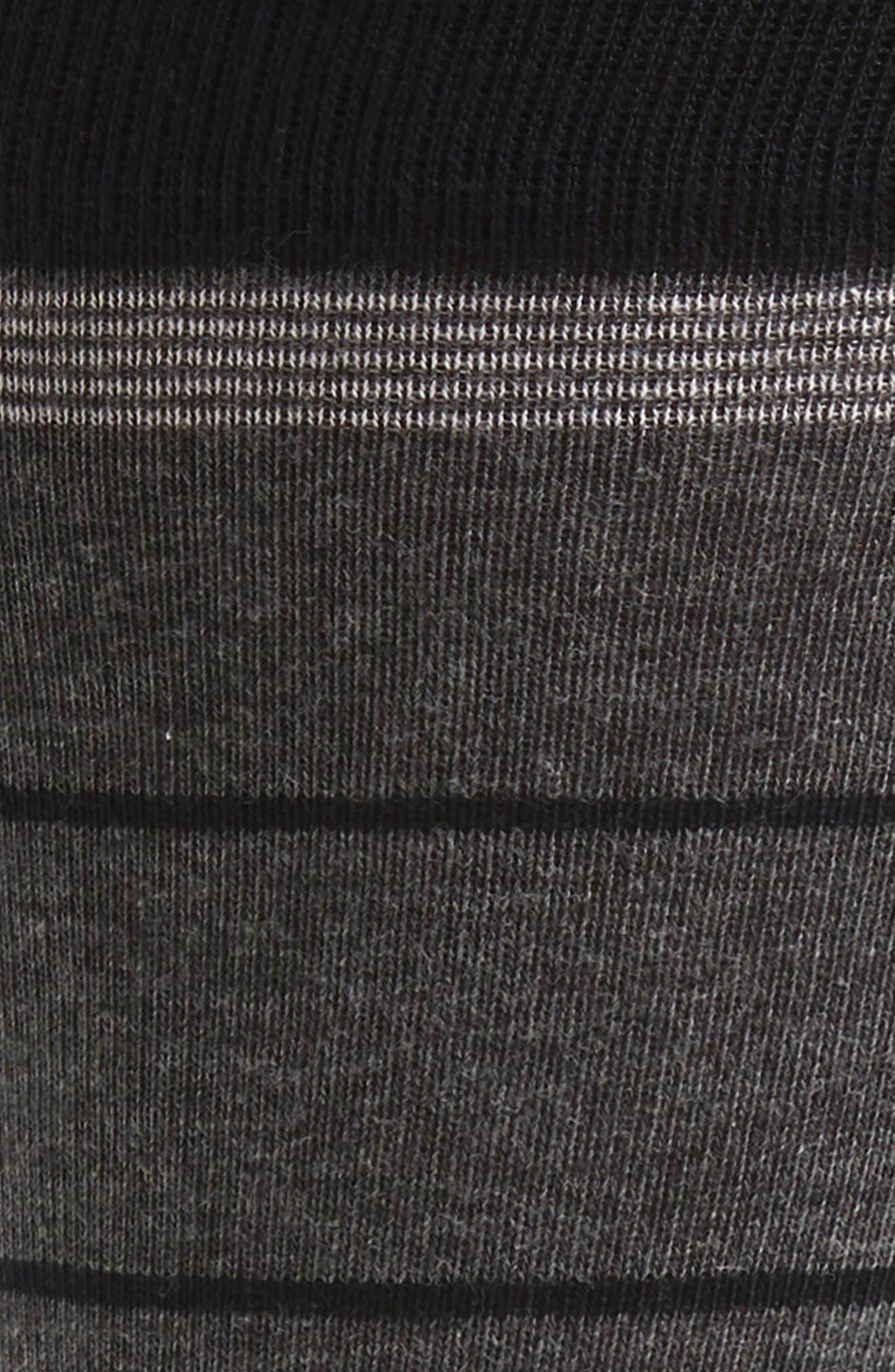 NORDSTROM MEN'S SHOP, Stripe Socks, Alternate thumbnail 2, color, CHARCOAL/ BLACK