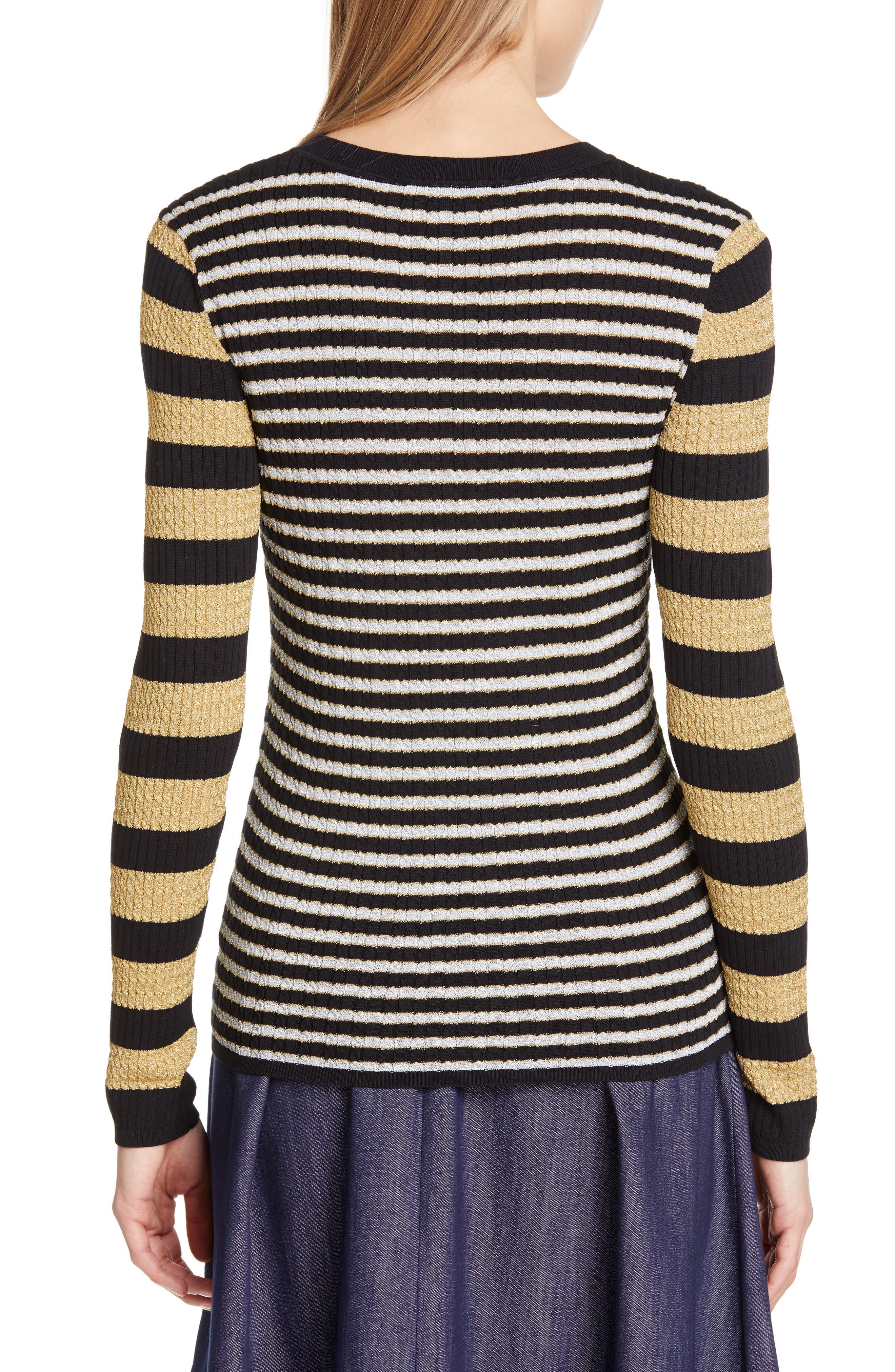 TOMMY X ZENDAYA, Metallic Stripe Knit Top, Alternate thumbnail 2, color, BLACK BEAUTY MULTI