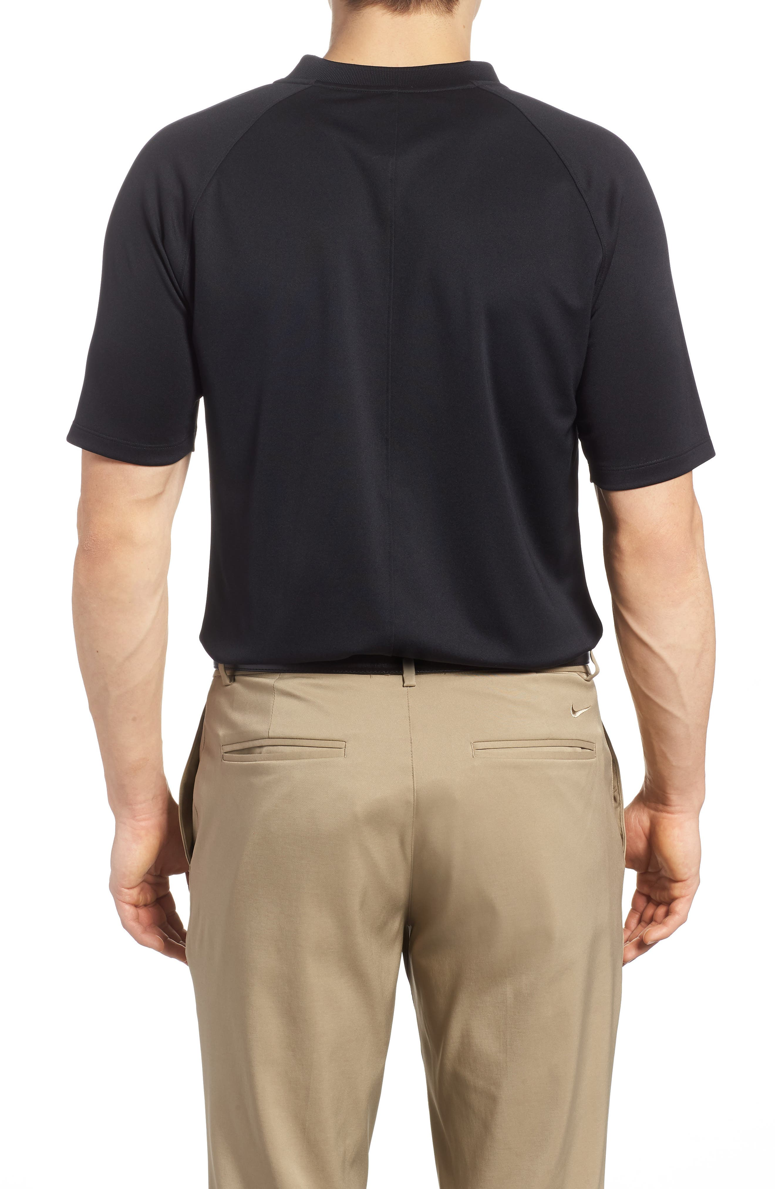 NIKE, Momentum Dri-FIT Golf Polo, Alternate thumbnail 2, color, BLACK/ BLACK/ GUNSMOKE