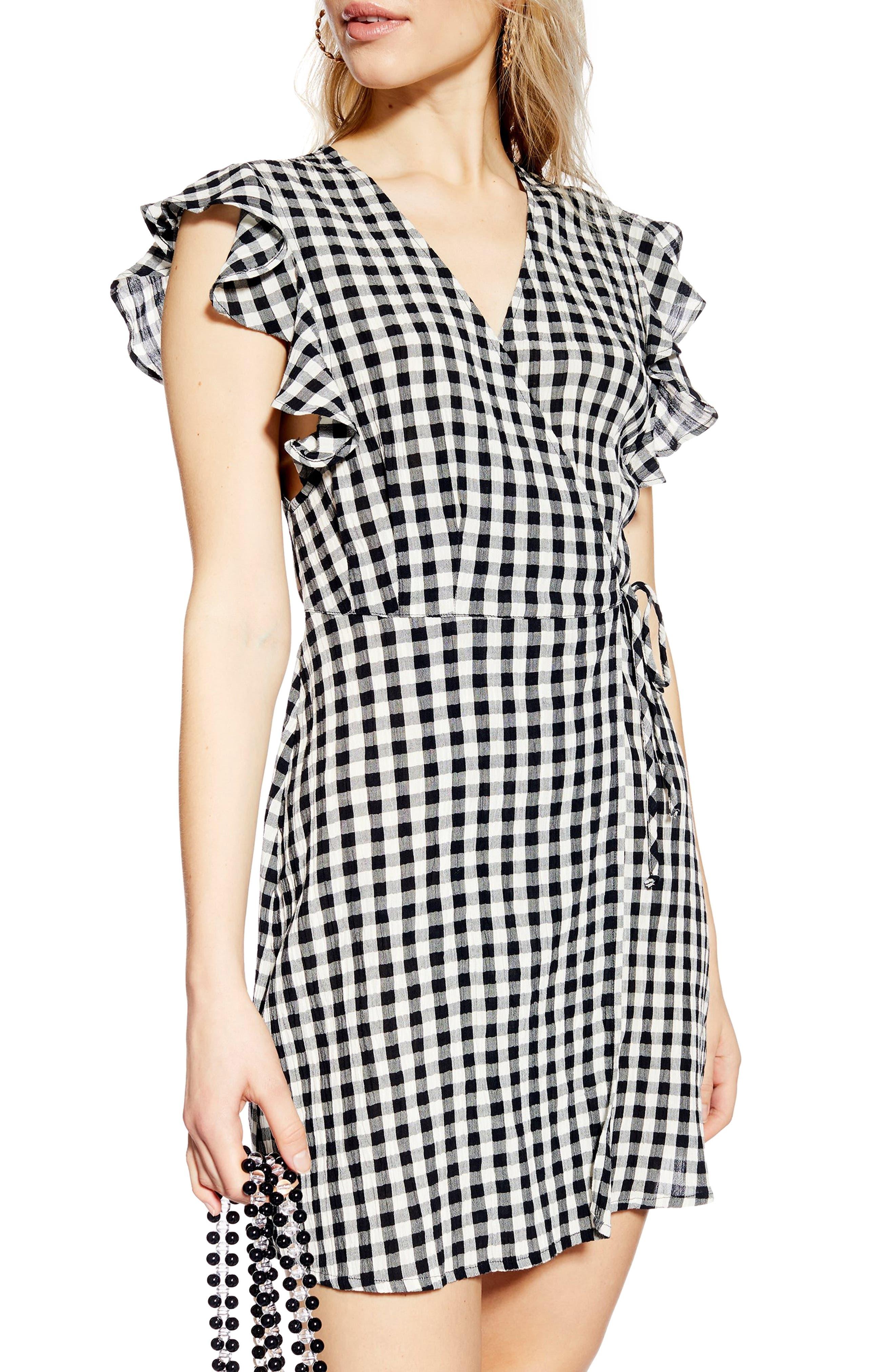 TOPSHOP, Gingham Ruffle Wrap Dress, Alternate thumbnail 4, color, BLACK MULTI