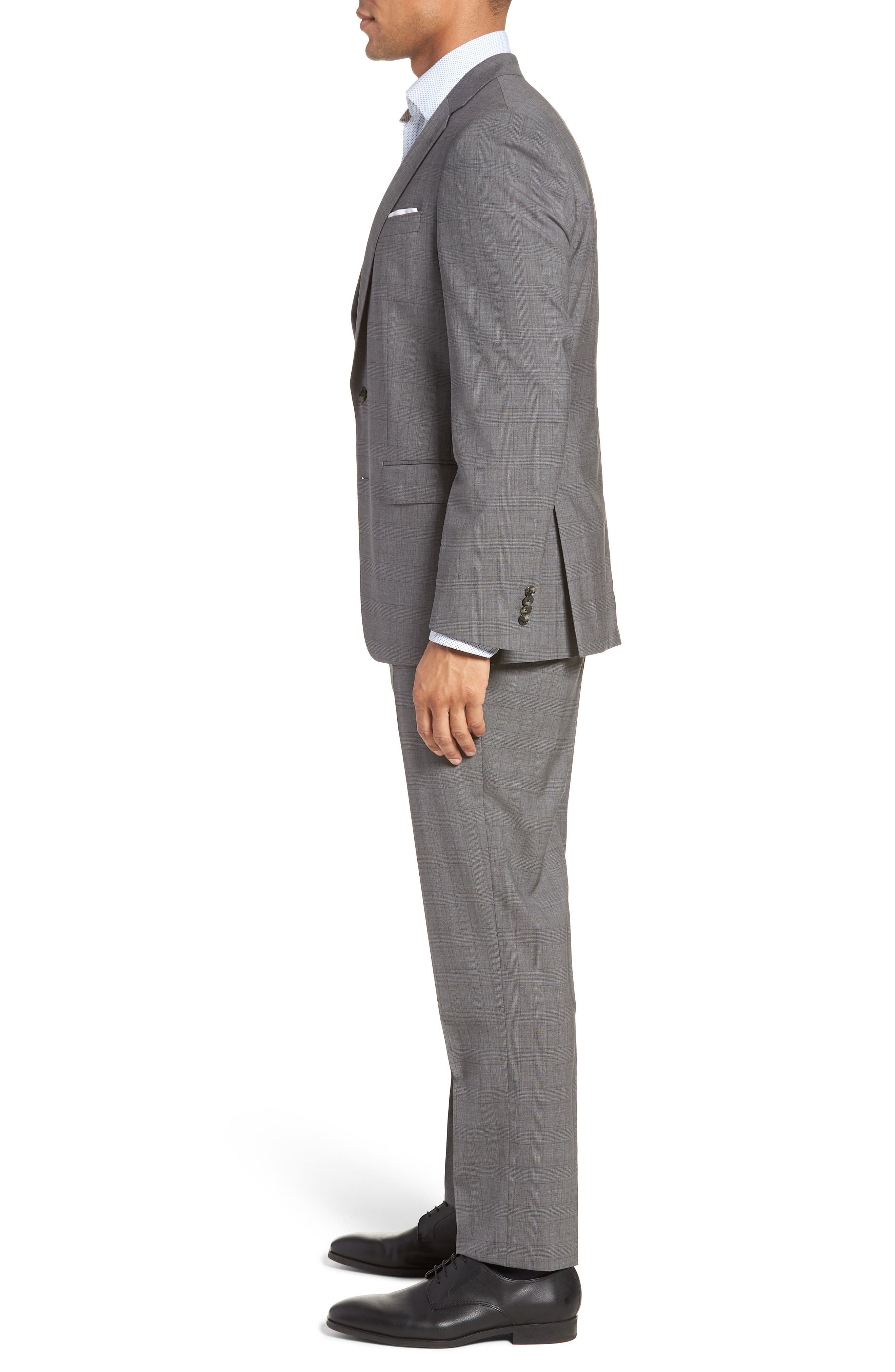 BOSS, Huge/Genius Trim Fit Plaid Wool Suit, Alternate thumbnail 3, color, 069