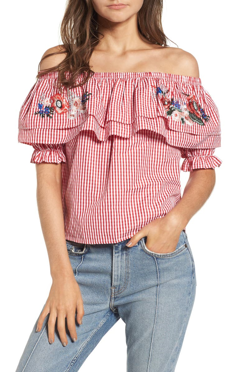 bf085dc6d7027 Lost + Wander Embroidered Gingham Off the Shoulder Top (Nordstrom ...