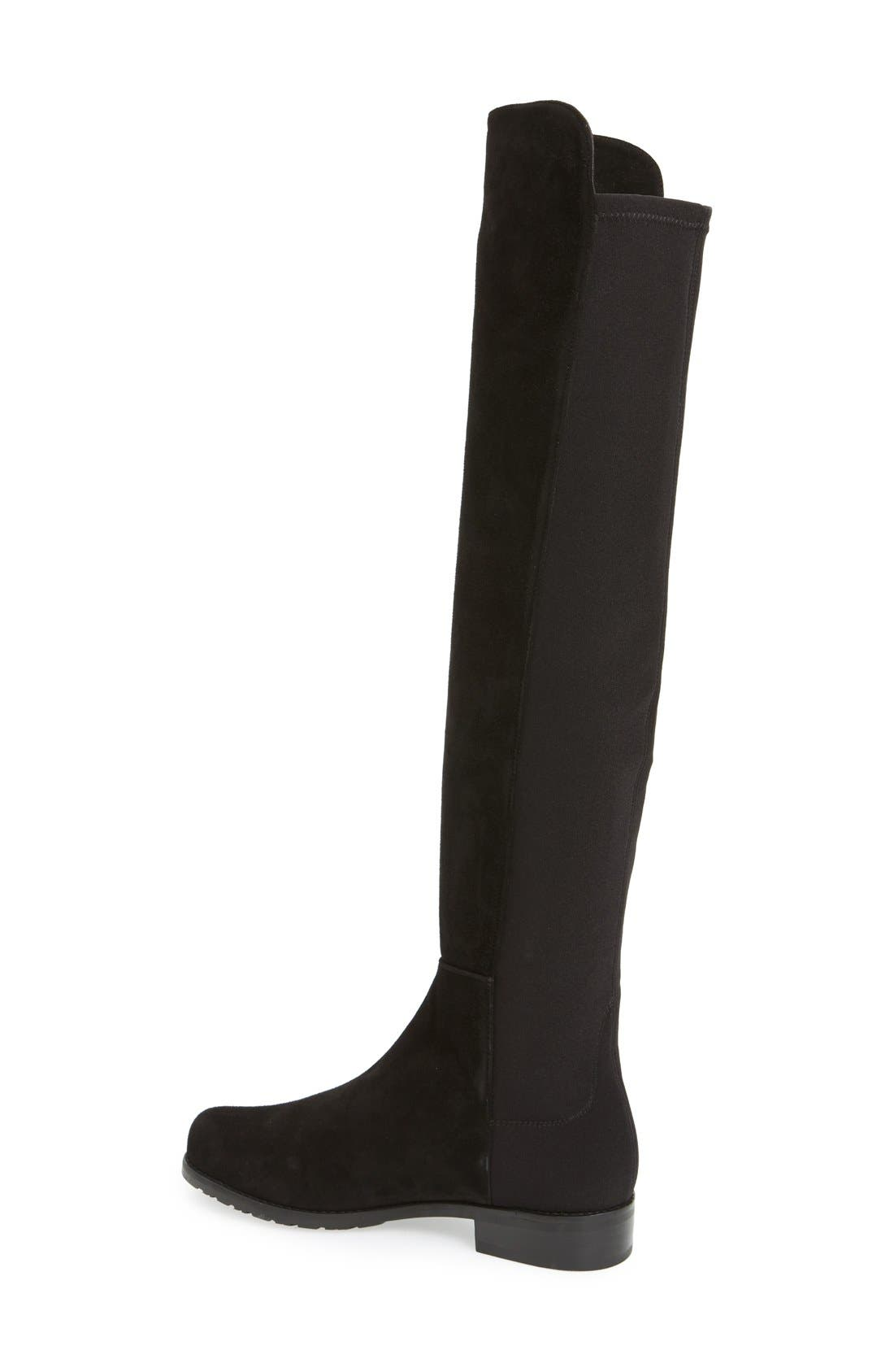 STUART WEITZMAN, 5050 Over the Knee Leather Boot, Alternate thumbnail 2, color, BLACK SUEDE