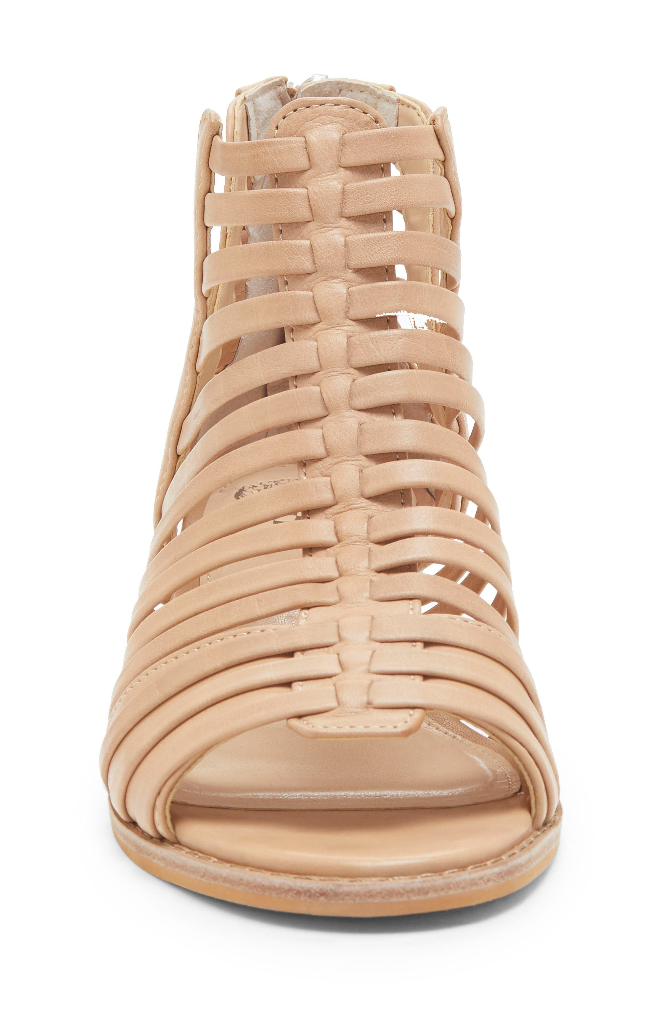 VINCE CAMUTO, Revey Wedge Sandal, Alternate thumbnail 4, color, NATURAL LEATHER
