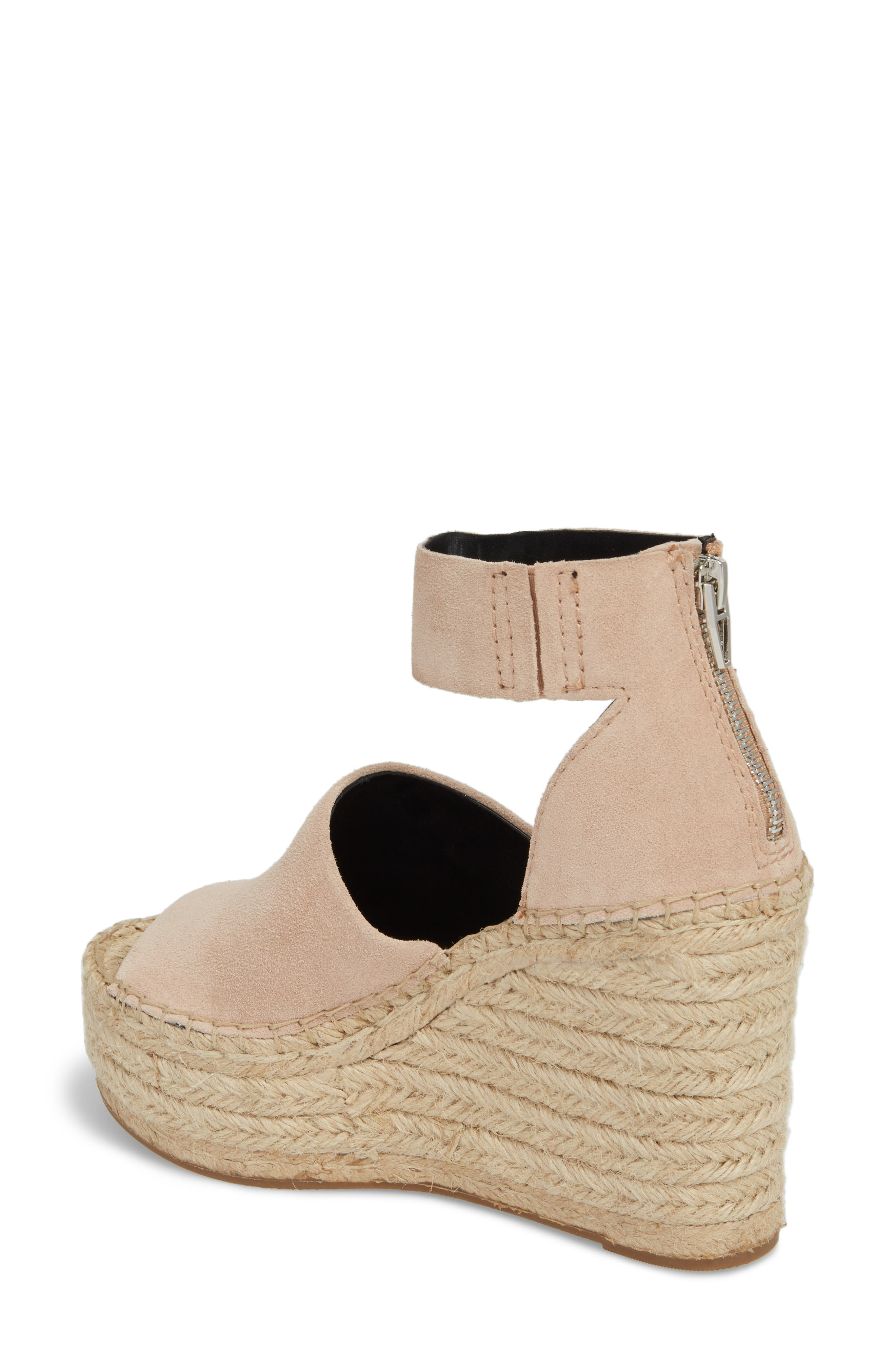 DOLCE VITA, Straw Wedge Espadrille Sandal, Alternate thumbnail 2, color, BLUSH