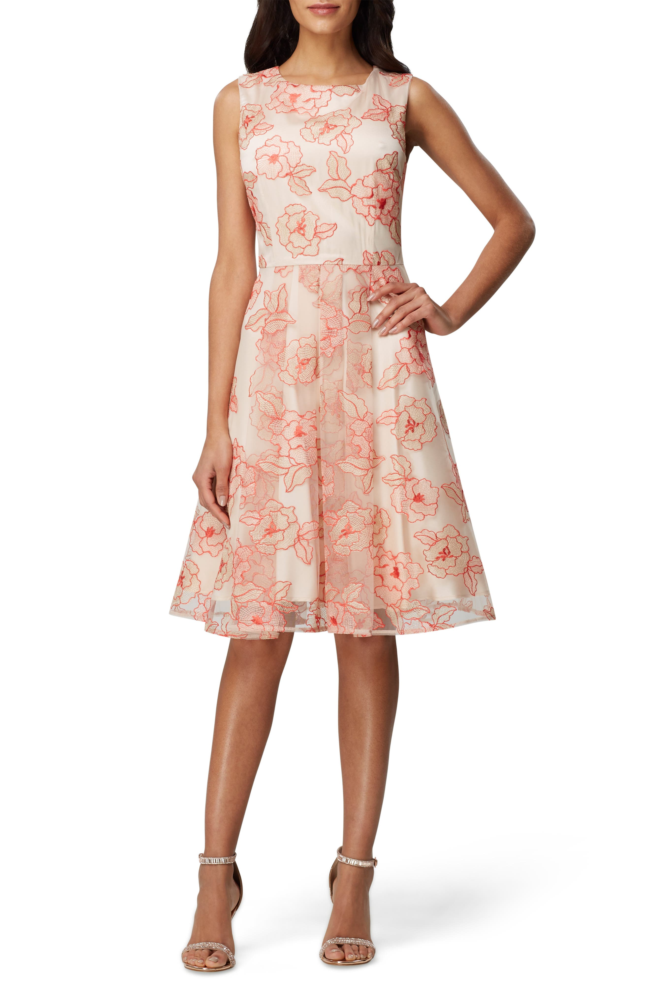 Tahari Floral Embroidered Fit & Flare Dress, Coral