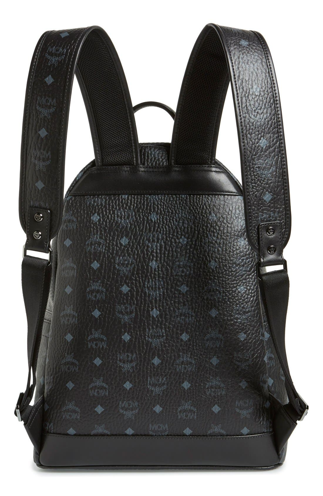 MCM, Medium Stark - Visetos Backpack, Alternate thumbnail 4, color, BLACK