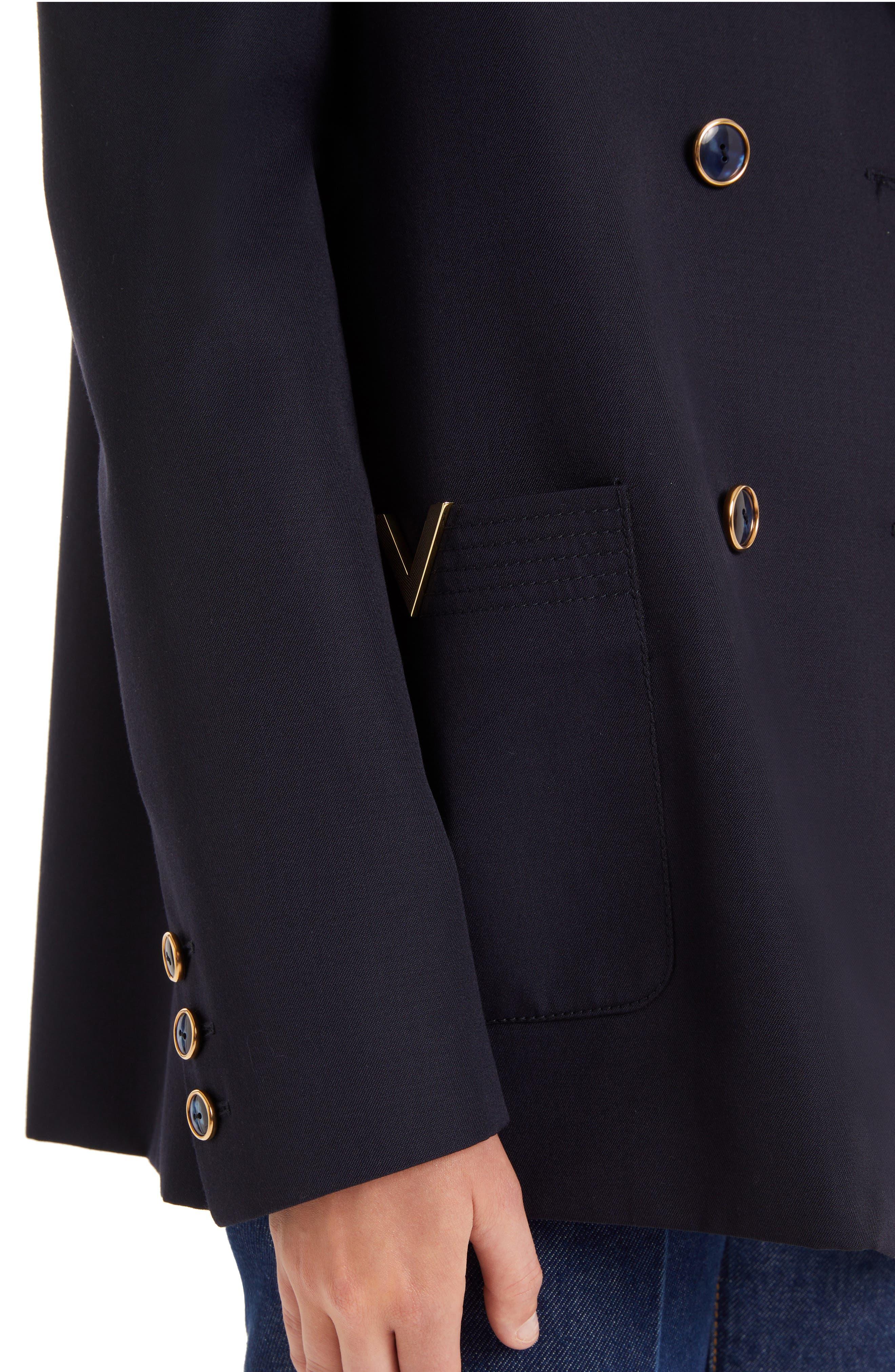 VALENTINO, V-Detail Wool Gabardine Jacket, Alternate thumbnail 4, color, NAVY