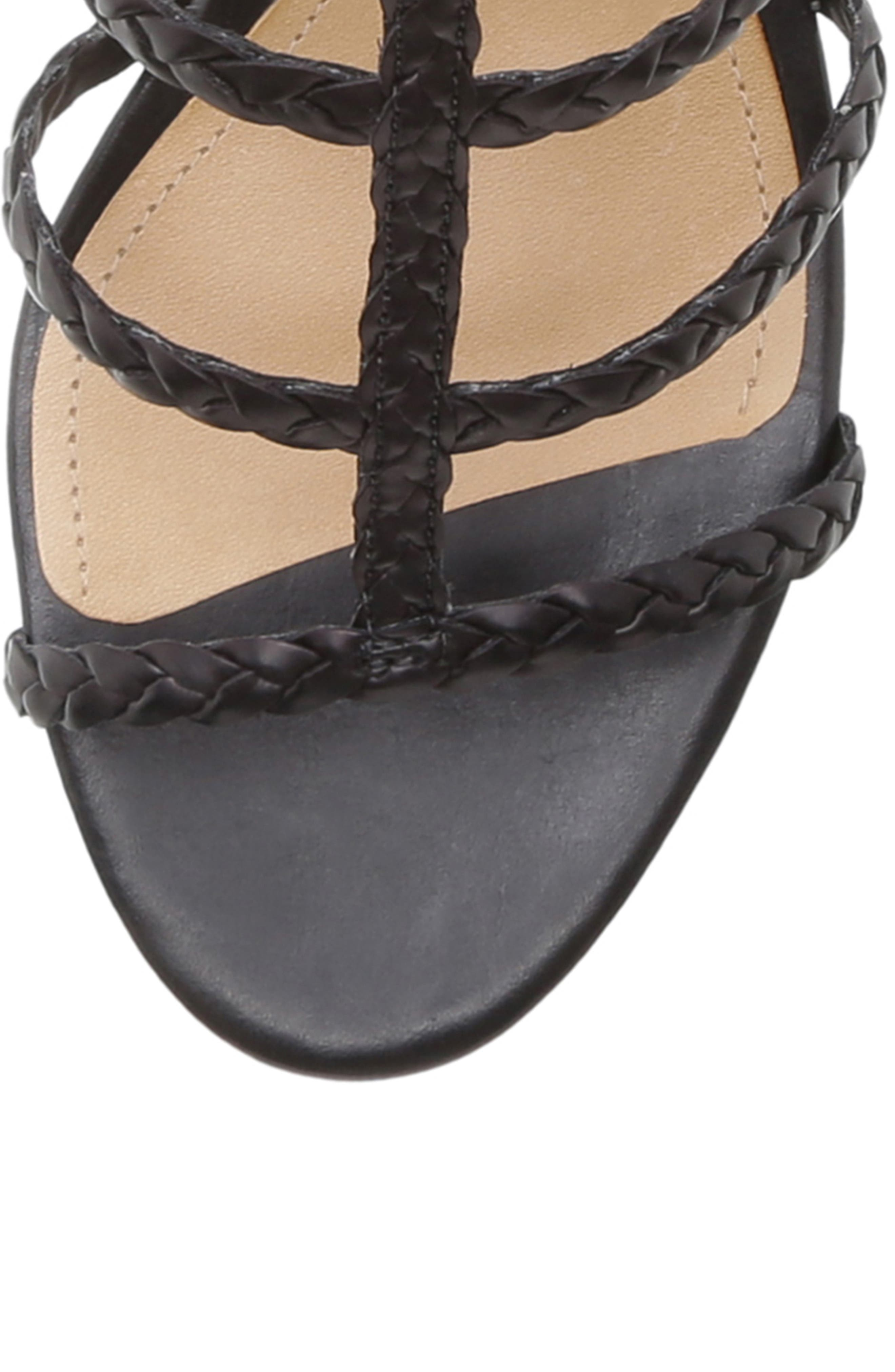 SCHUTZ, Rosalia Block Heel Sandal, Alternate thumbnail 5, color, BLACK LEATHER