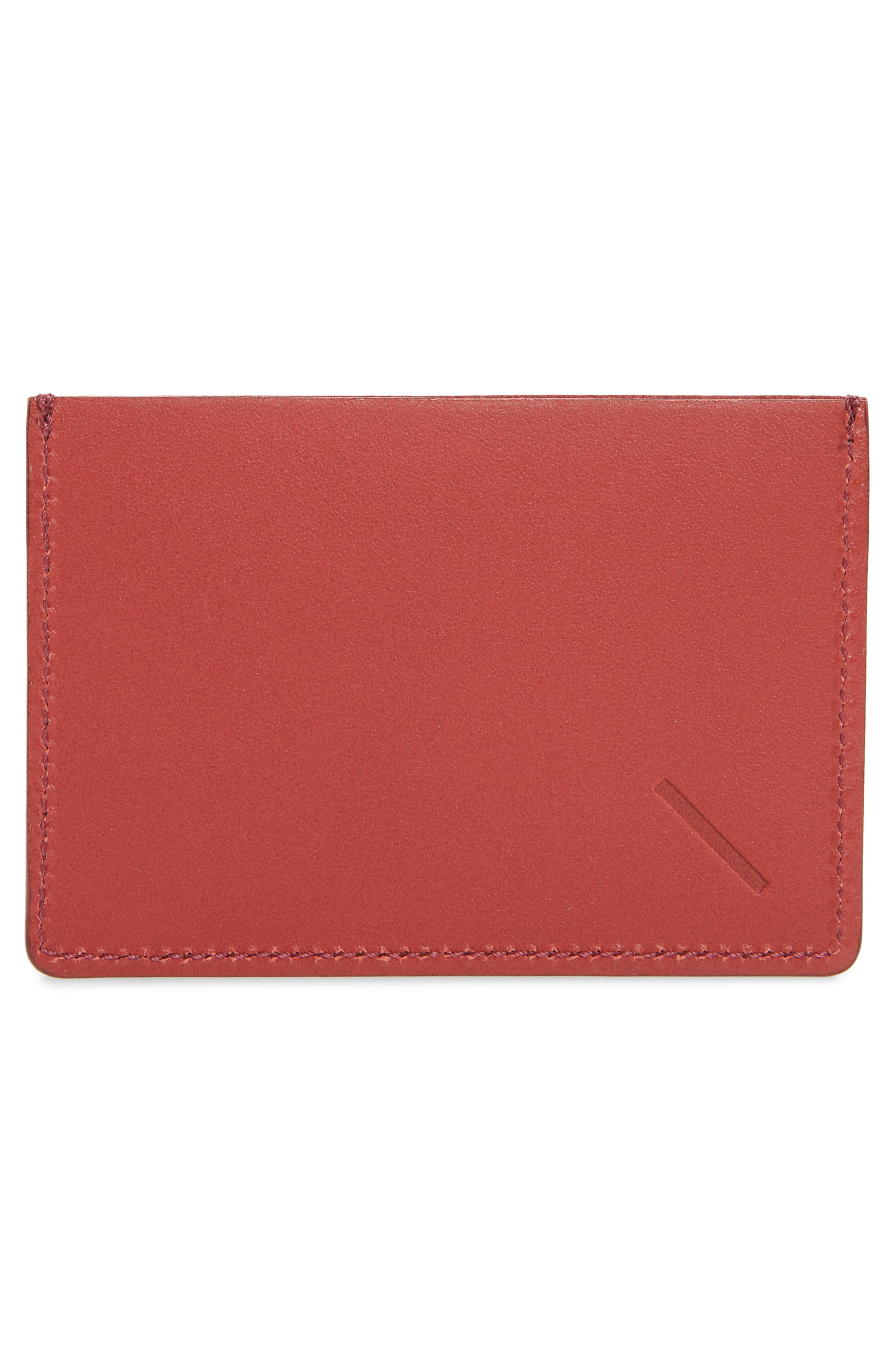 SATURDAYS NYC, Ryan Leather Card Case, Alternate thumbnail 2, color, TRUE RED