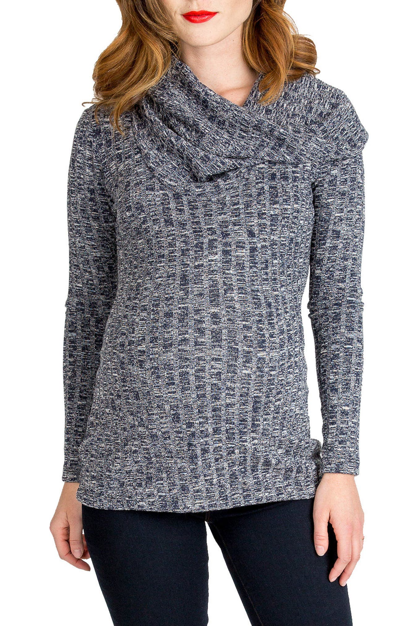 NOM MATERNITY, Ophelia Cowl Neck Maternity Sweater, Main thumbnail 1, color, NAVY HEATHER RIB