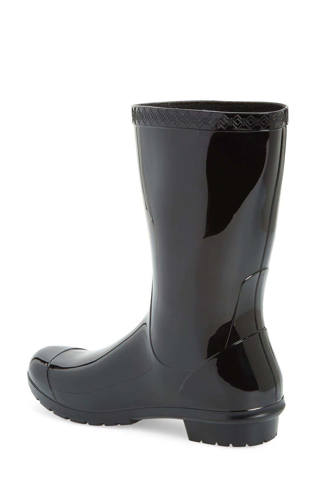 UGG<SUP>®</SUP>, Sienna Rain Boot, Alternate thumbnail 2, color, BLACK