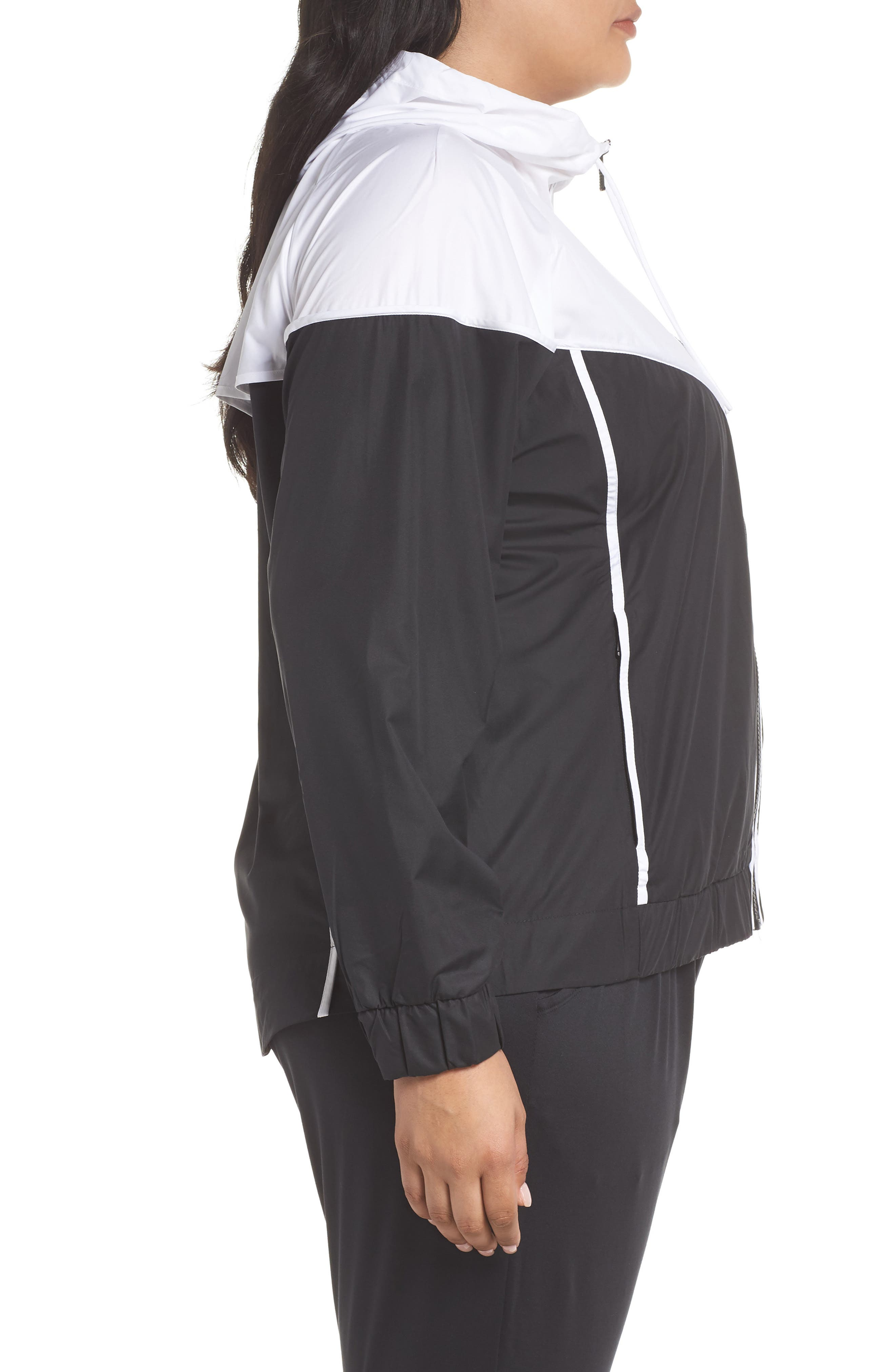 NIKE, Sportswear Windrunner Jacket, Alternate thumbnail 4, color, BLACK/ WHITE/ BLACK