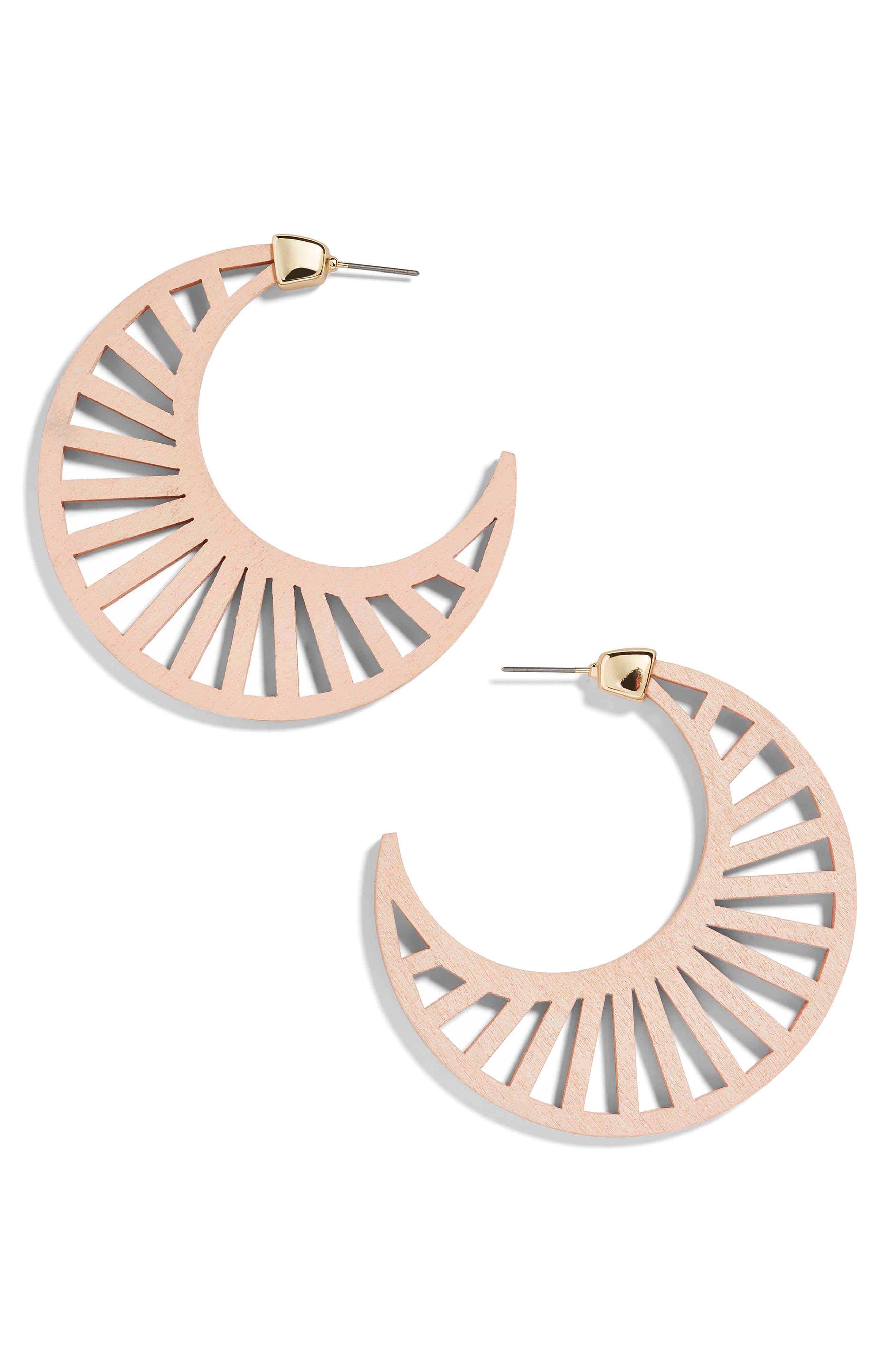 BAUBLEBAR, Wooden Crescent Moon Earrings, Main thumbnail 1, color, 250
