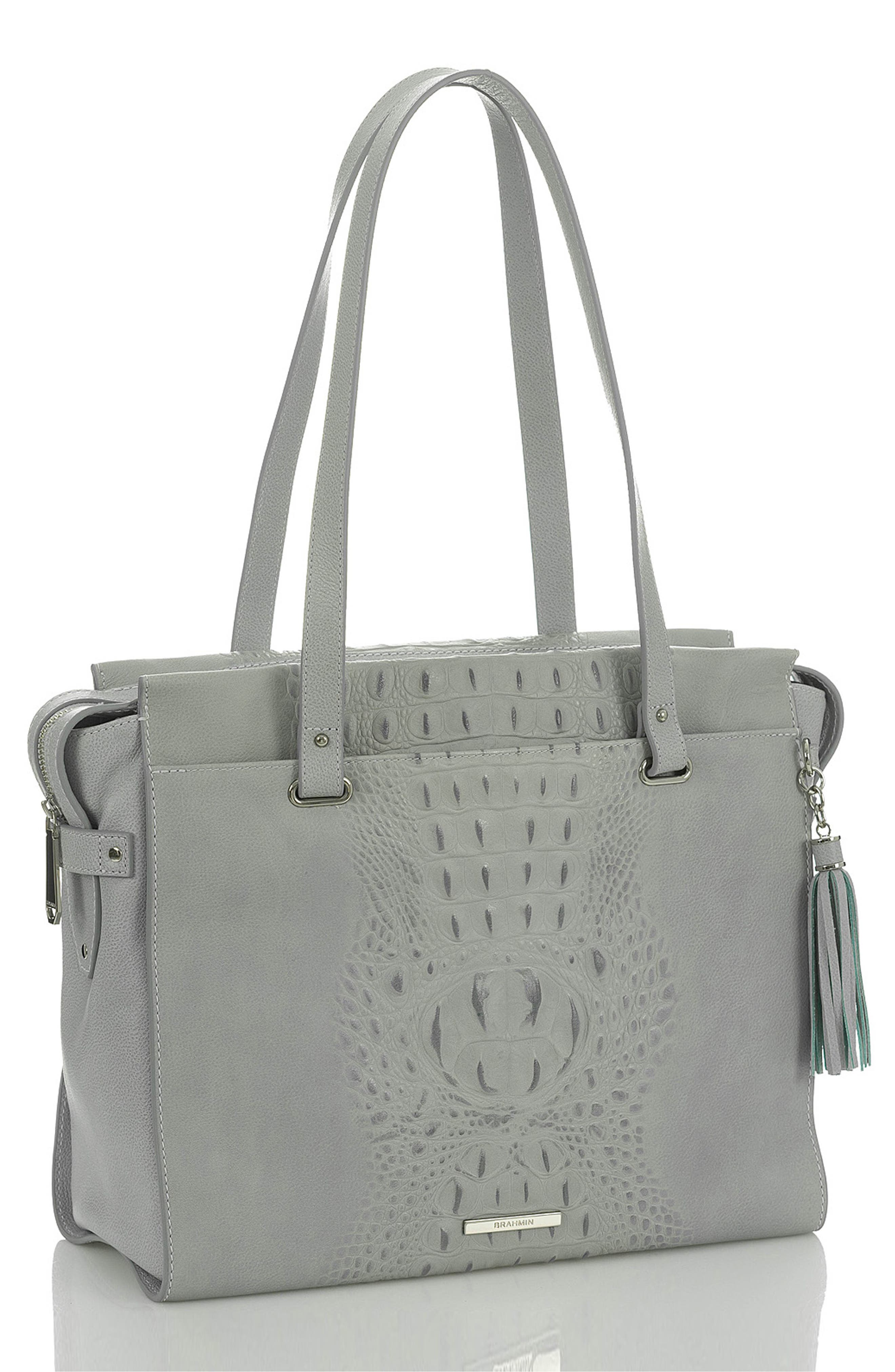 BRAHMIN, Medium Emily Leather Tote, Alternate thumbnail 4, color, OCEAN