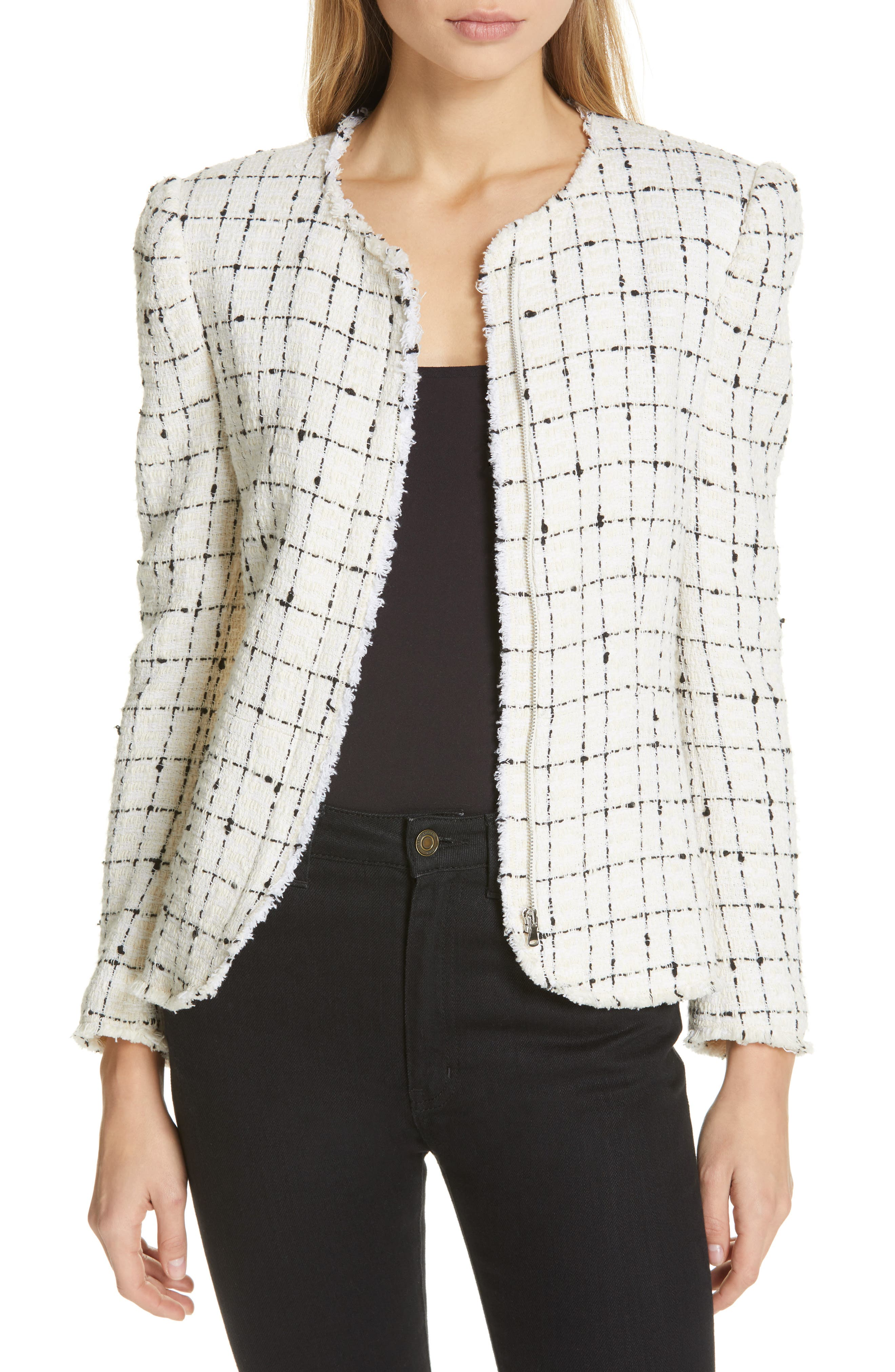 REBECCA TAYLOR, Plaid Tweed Zip Jacket, Main thumbnail 1, color, CREAM COMBO