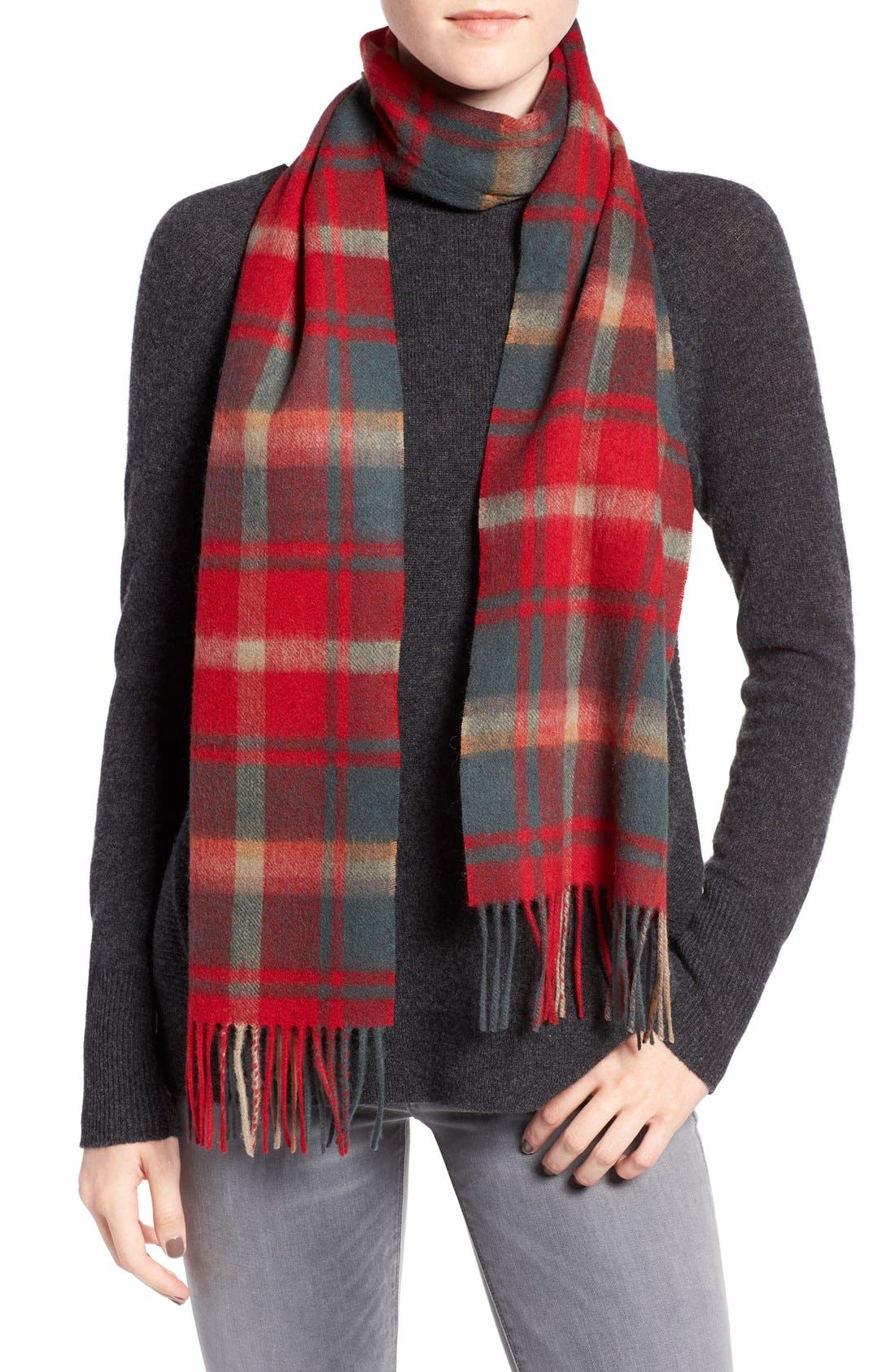BARBOUR, 'Shilhope' Plaid Wool Scarf, Main thumbnail 1, color, 201