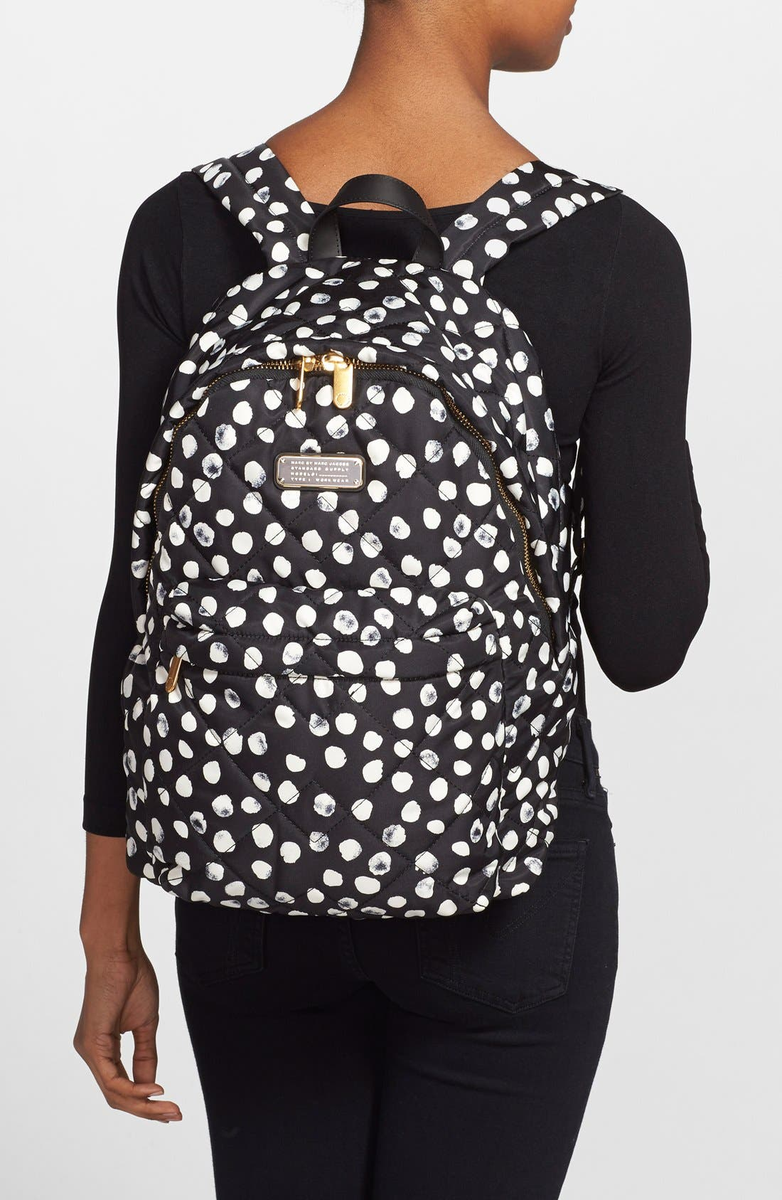 MARC JACOBS, MARC BY MARC JACOBS 'Crosby' Quilted Backpack, Alternate thumbnail 6, color, 001