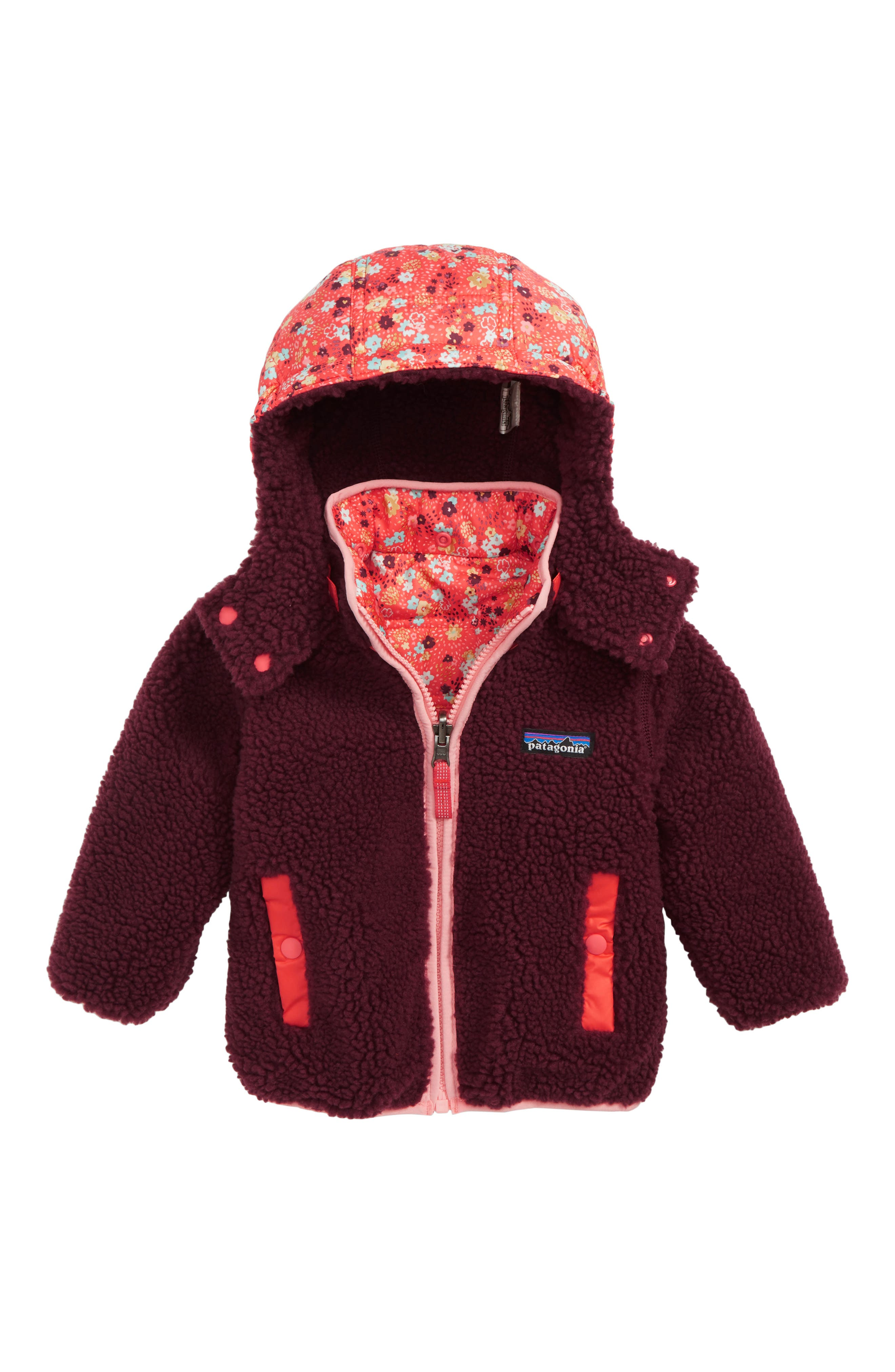 PATAGONIA, Tribbles Reversible Water Resistant Snow Jacket, Alternate thumbnail 2, color, UDSC UNTAMED DITSY SPICE CORAL