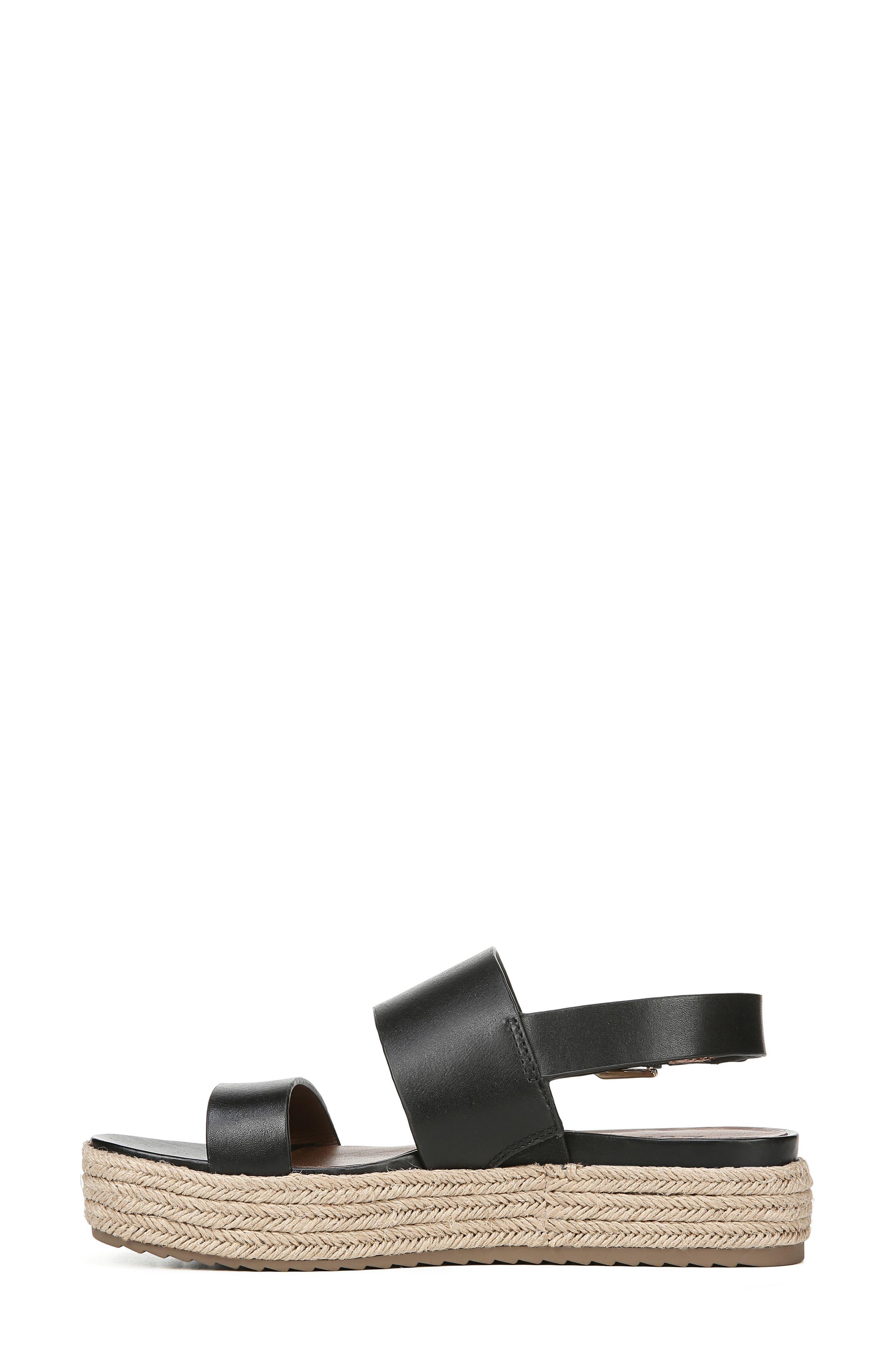 NATURALIZER, Jaycie Platform Sandal, Alternate thumbnail 8, color, BLACK LEATHER