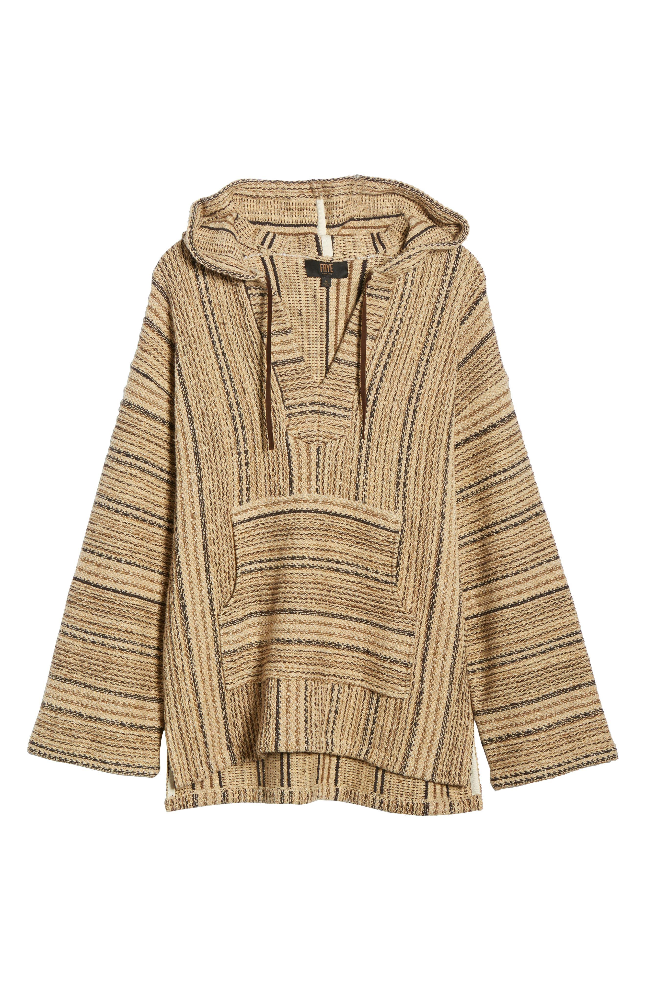 FRYE, Baja Hooded Pullover, Alternate thumbnail 6, color, TAOS TAUPE STRIPE