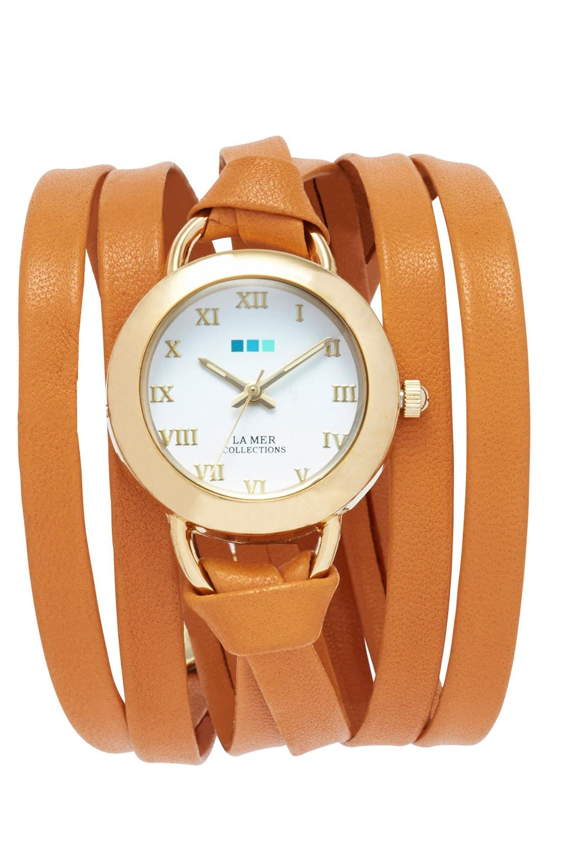LA MER COLLECTIONS 'Saturn' Round Leather Wrap Watch, 32mm, Main, color, 200