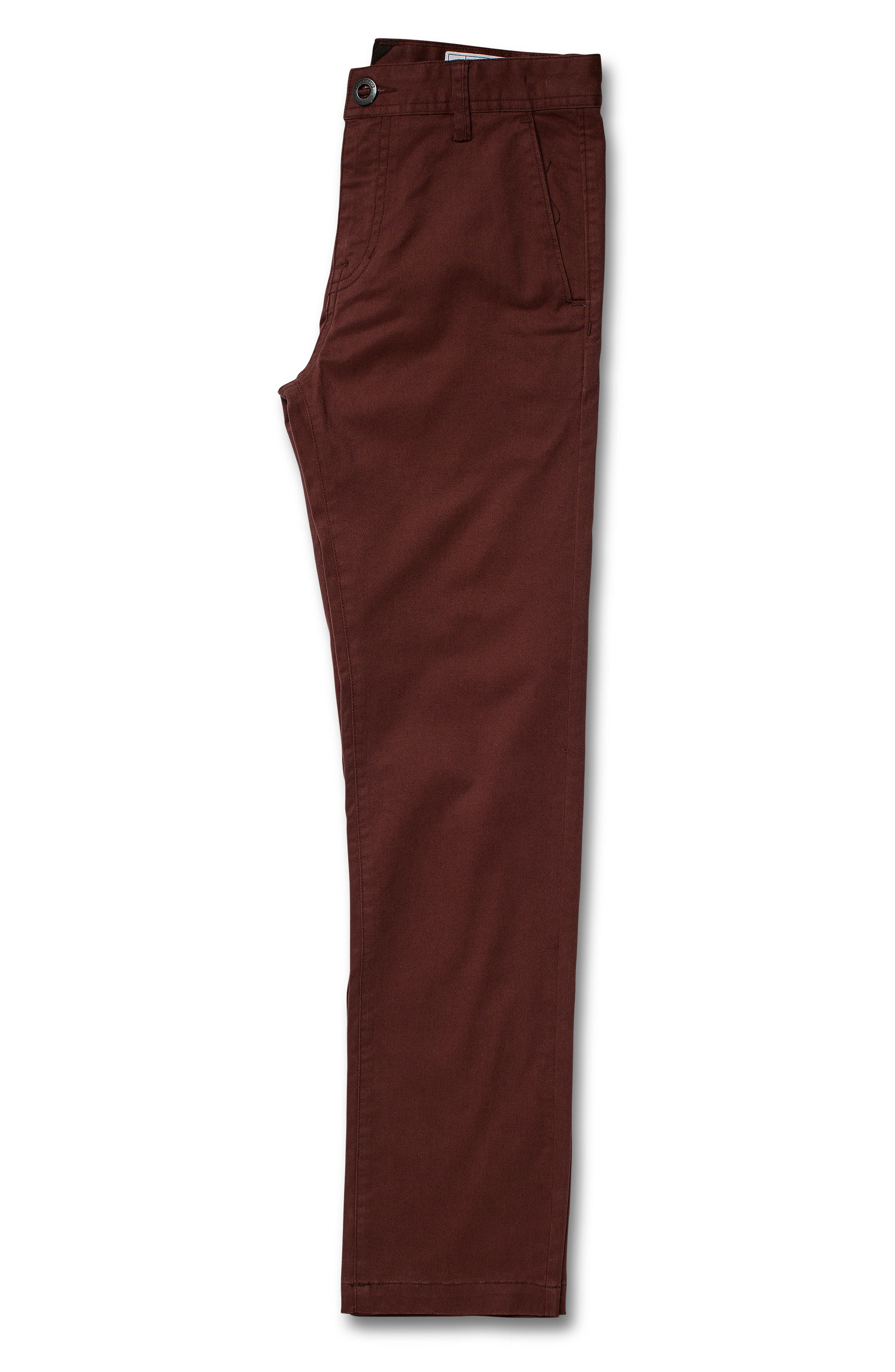 VOLCOM, Slim Fit Stretch Chinos, Alternate thumbnail 3, color, BROWN