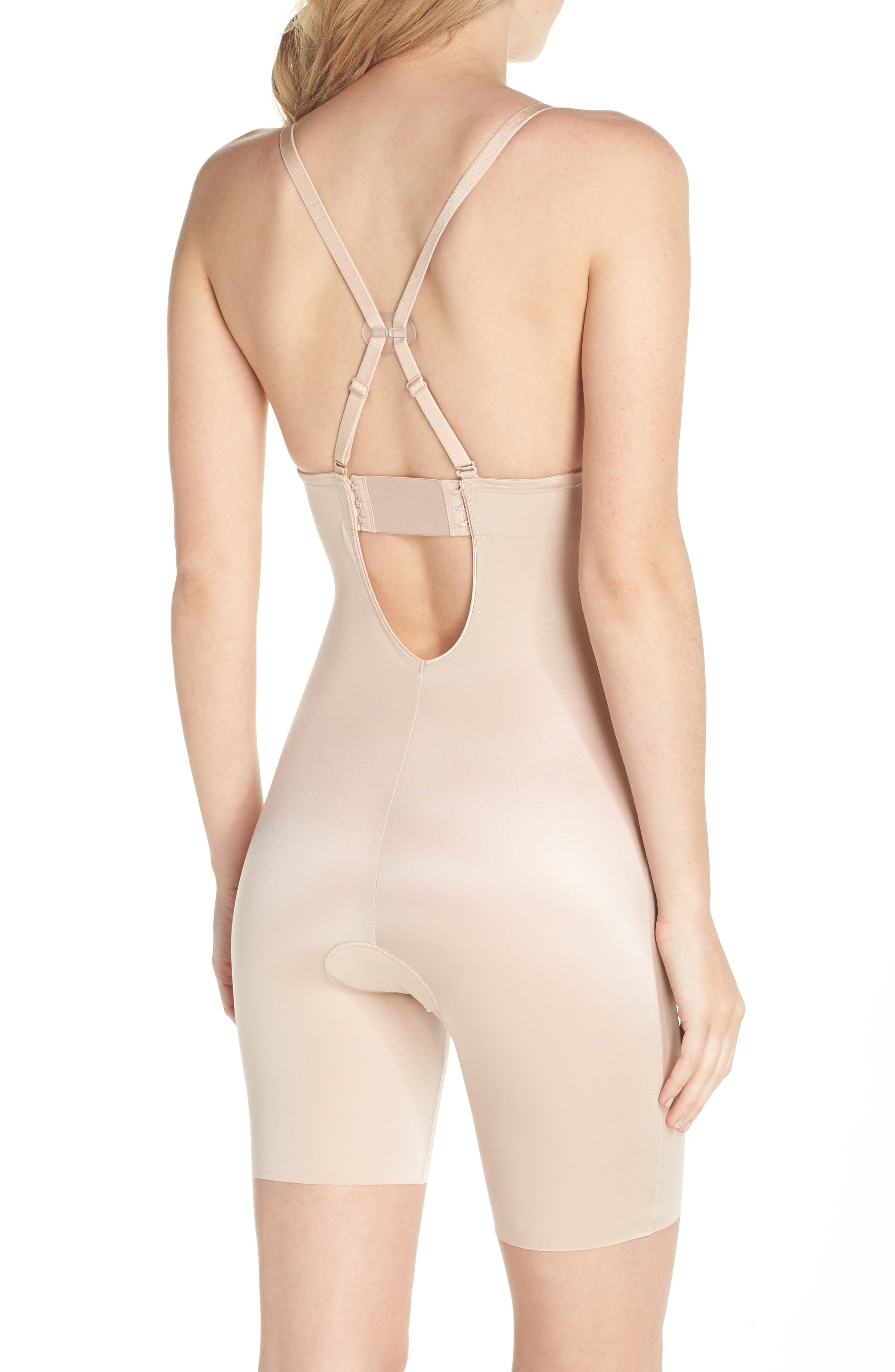 SPANX<SUP>®</SUP>, Suit Your Fancy Plunge Low-Back Mid-Thigh Bodysuit, Alternate thumbnail 2, color, CHAMPAGNE BEIGE