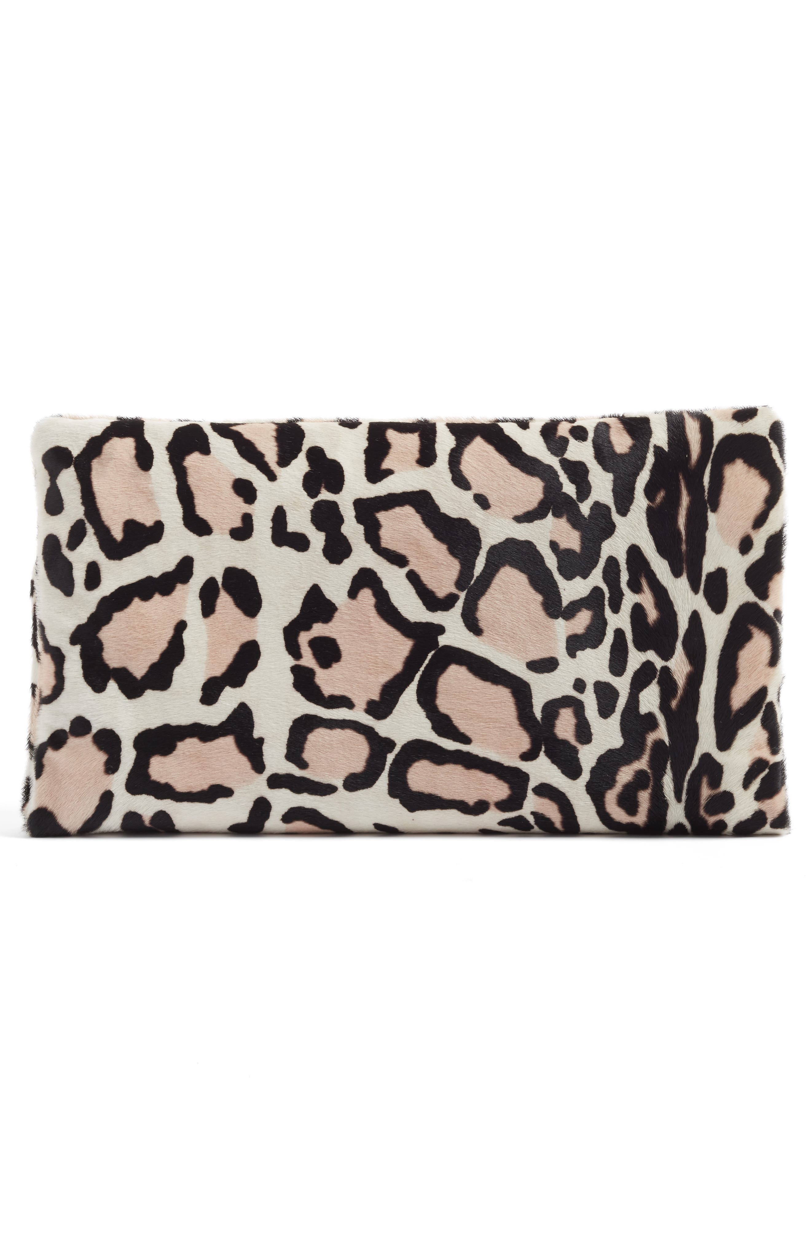 CLARE V., Genuine Calf Hair Foldover Clutch, Alternate thumbnail 2, color, 900