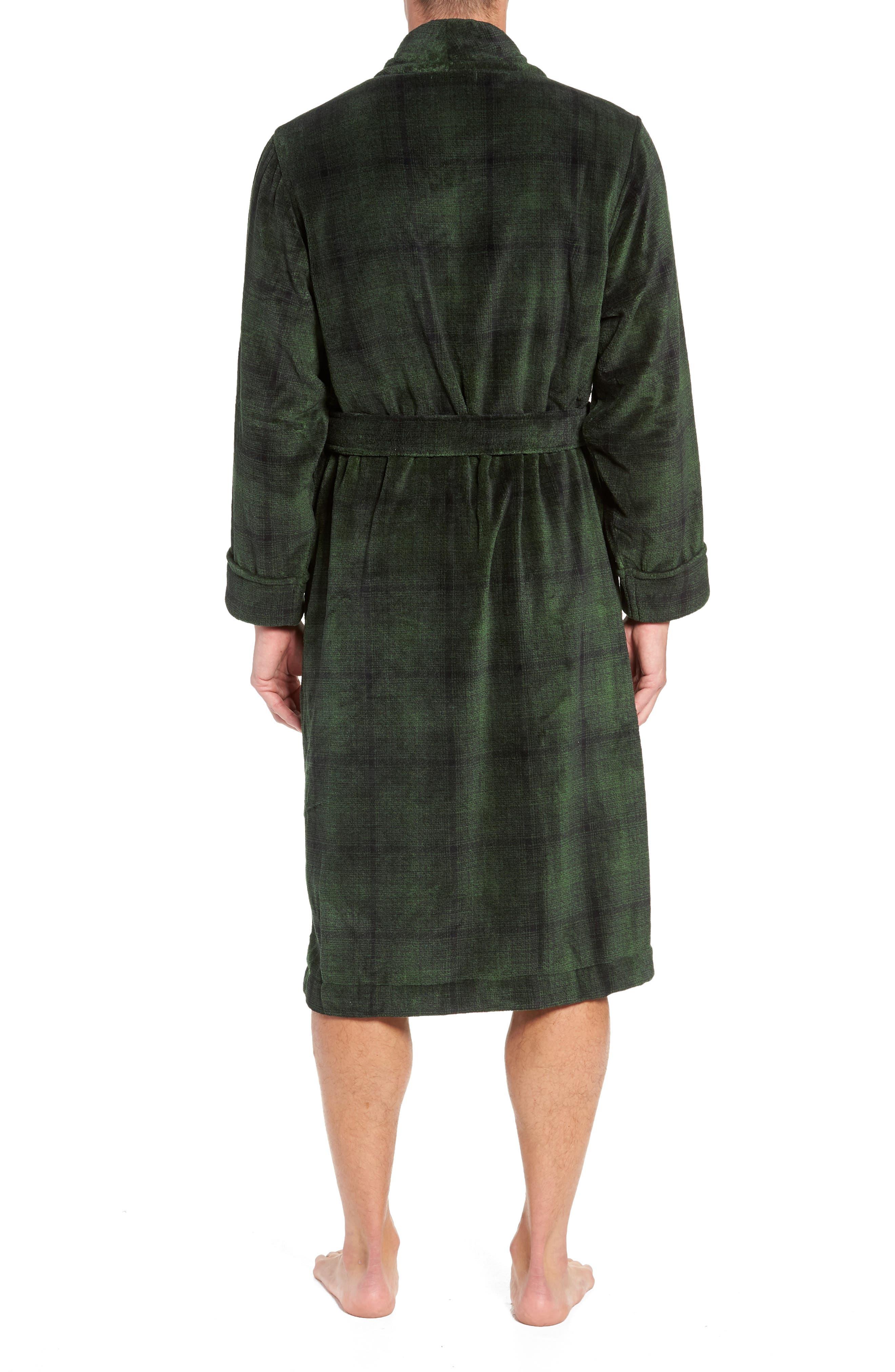 NORDSTROM MEN'S SHOP, Ombré Plaid Fleece Robe, Alternate thumbnail 2, color, GREEN - BLACK OMBRE PLAID