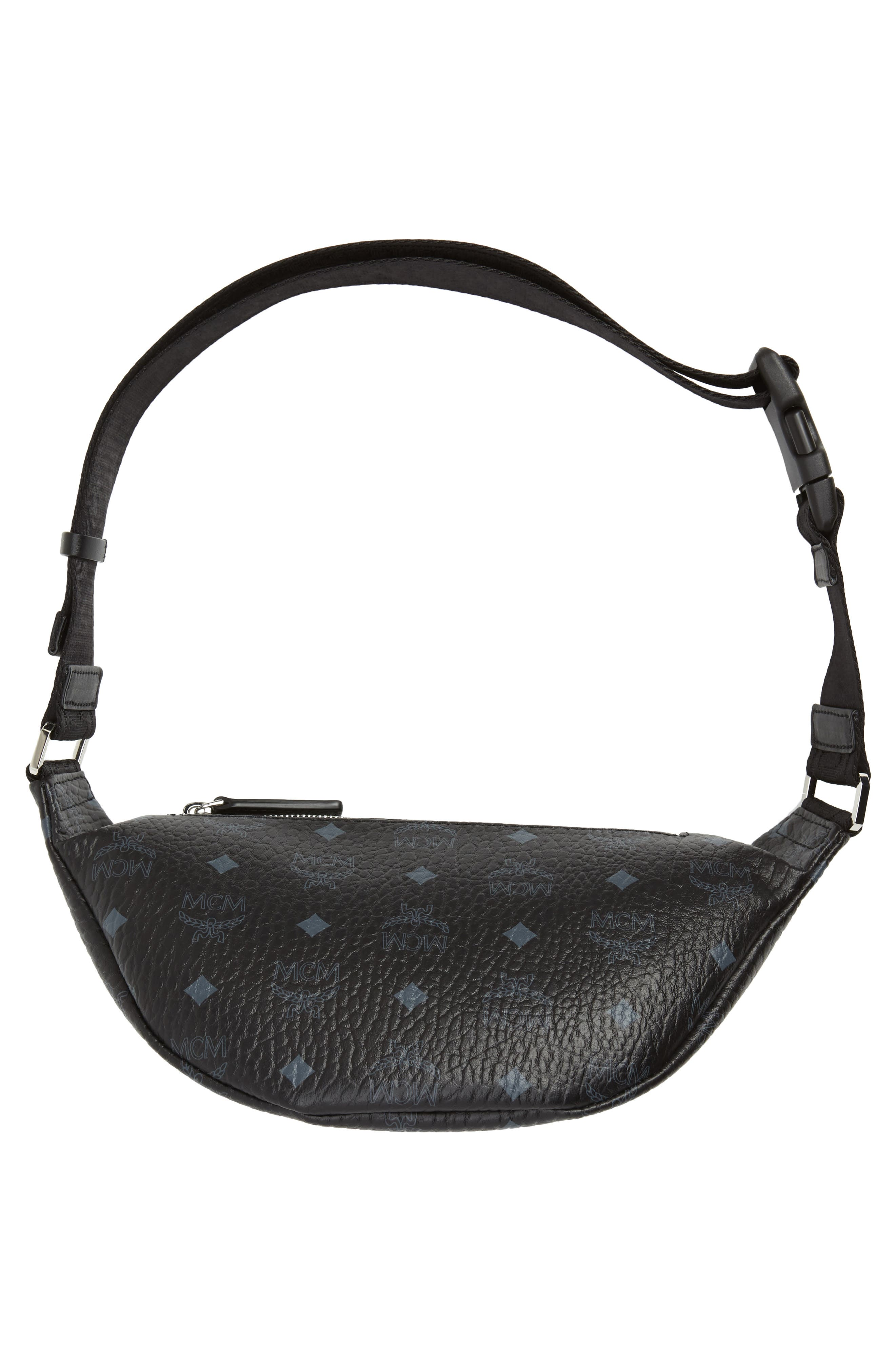 MCM, Fursten Visetos Small Belt Bag, Alternate thumbnail 8, color, BLACK