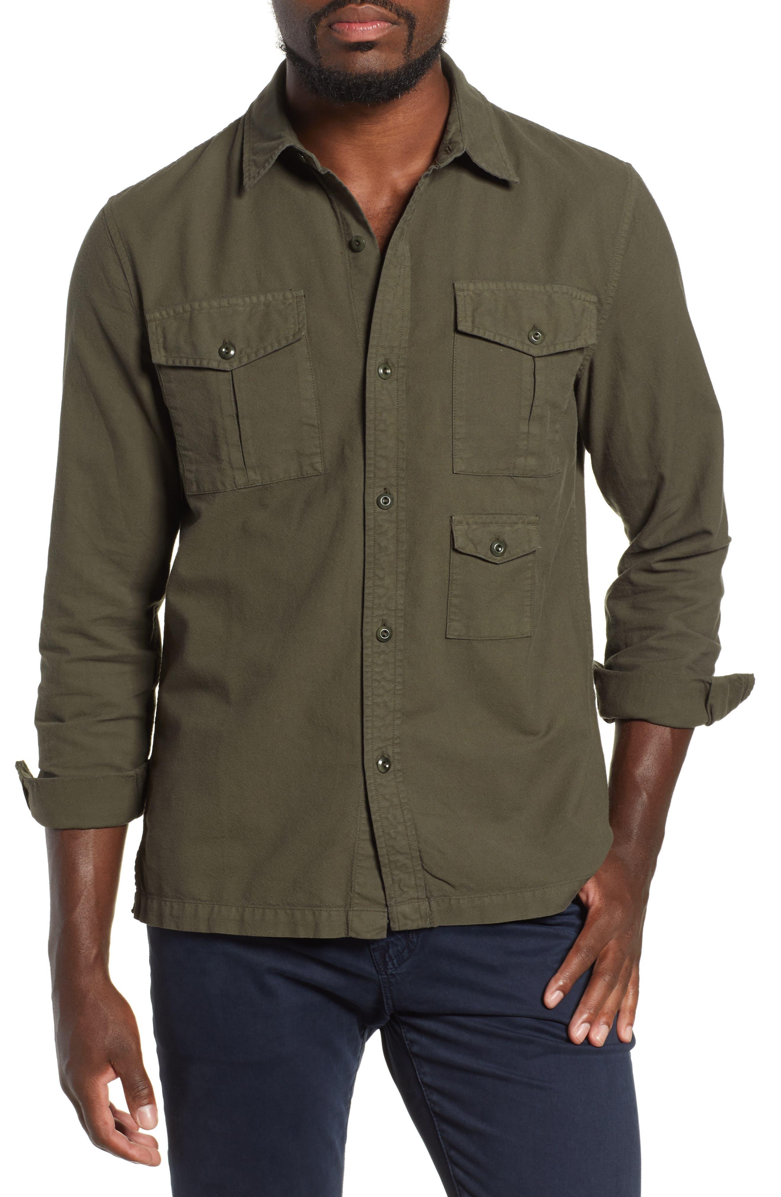 AG, Pioneer Tri-Pocket Long Sleeve Slim Fit Sport Shirt, Main thumbnail 1, color, SULFUR OAK GROVE