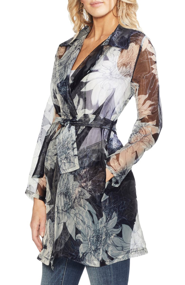 Vince Camuto Tops PAGODA BLOSSOMS BELTED TRENCH