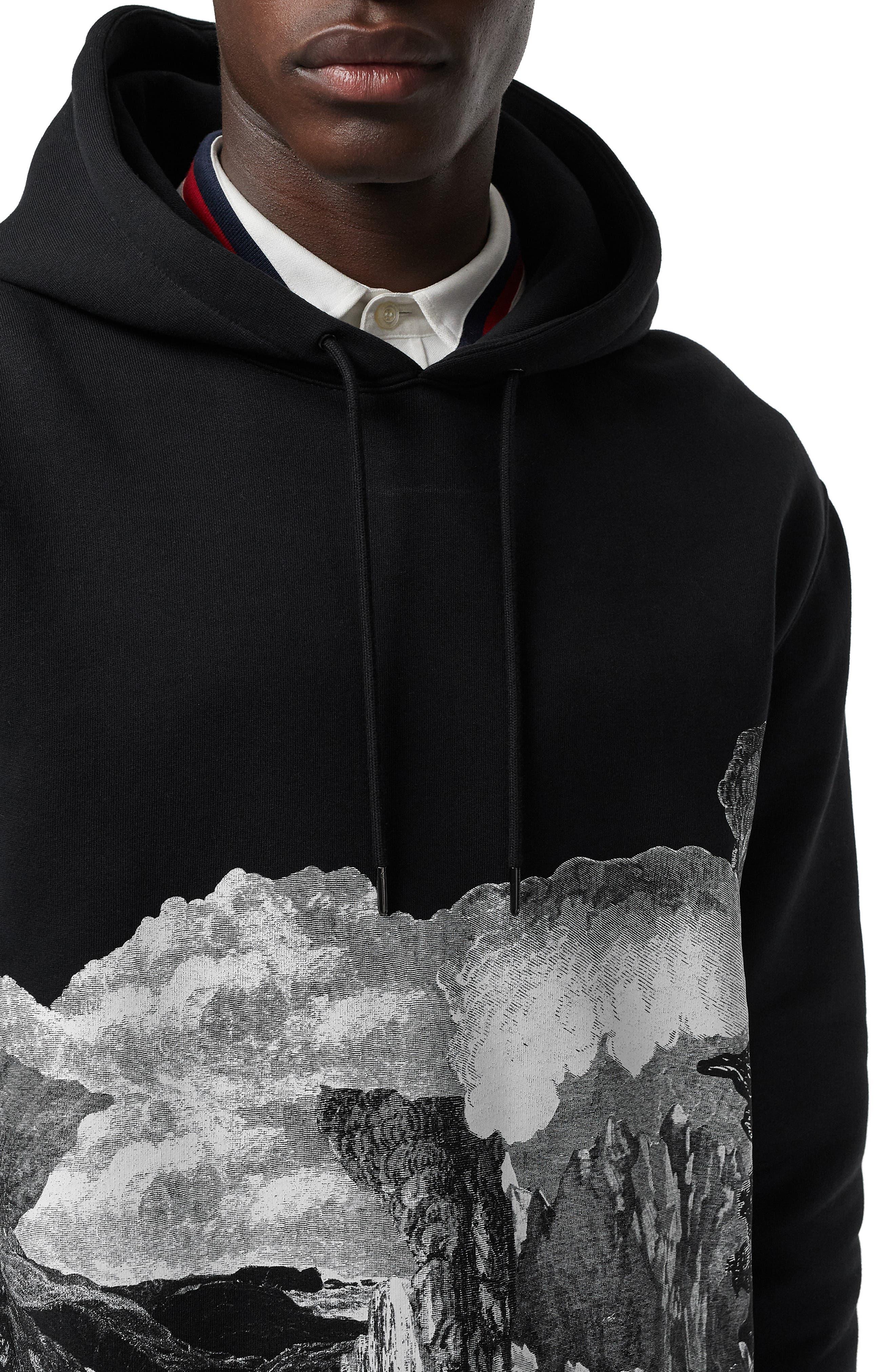 BURBERRY, Dreamscape Print Hooded Sweatshirt, Alternate thumbnail 3, color, BLACK