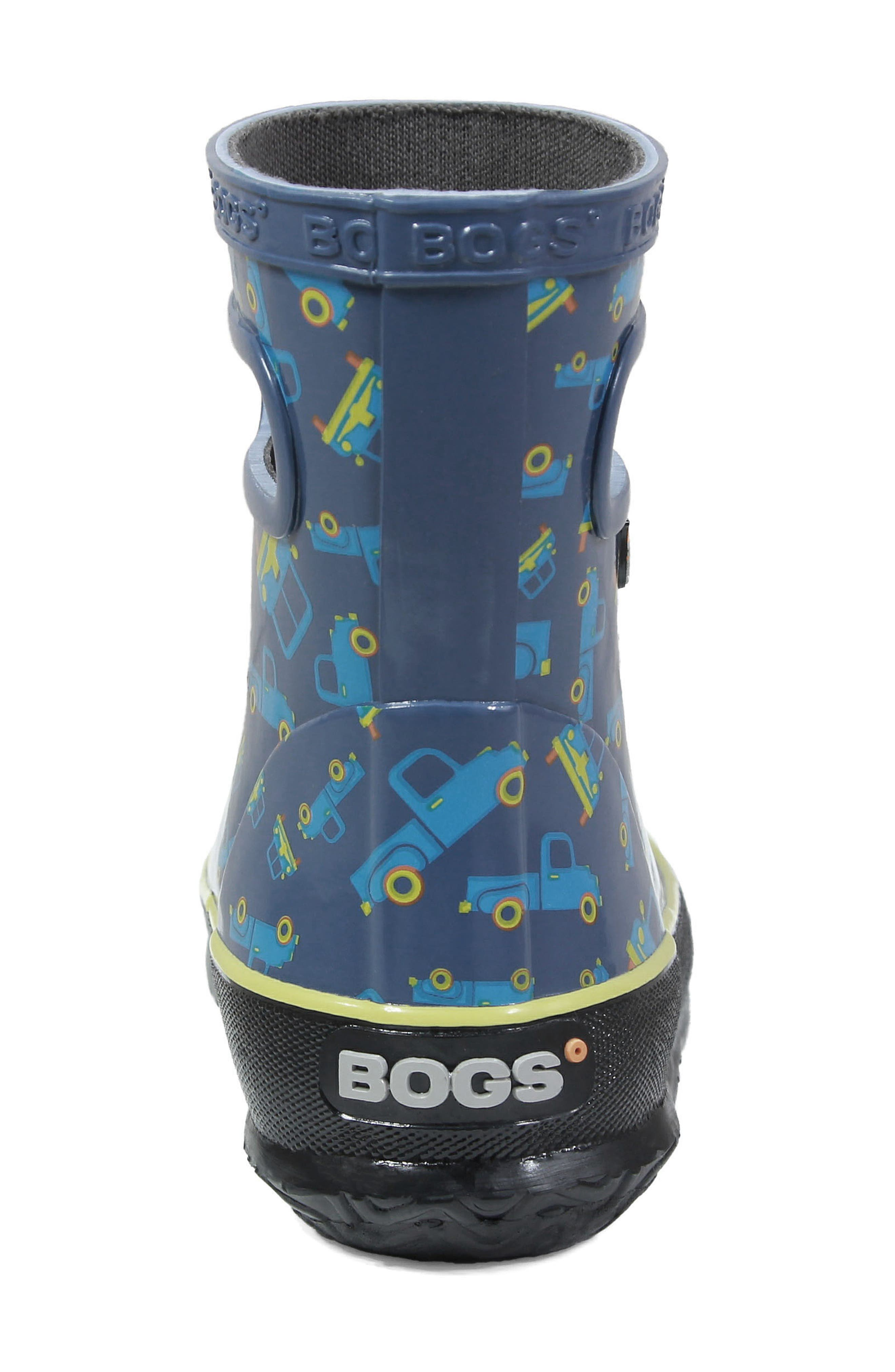BOGS, Skipper Truck Print Rubber Rain Boot, Alternate thumbnail 7, color, 460