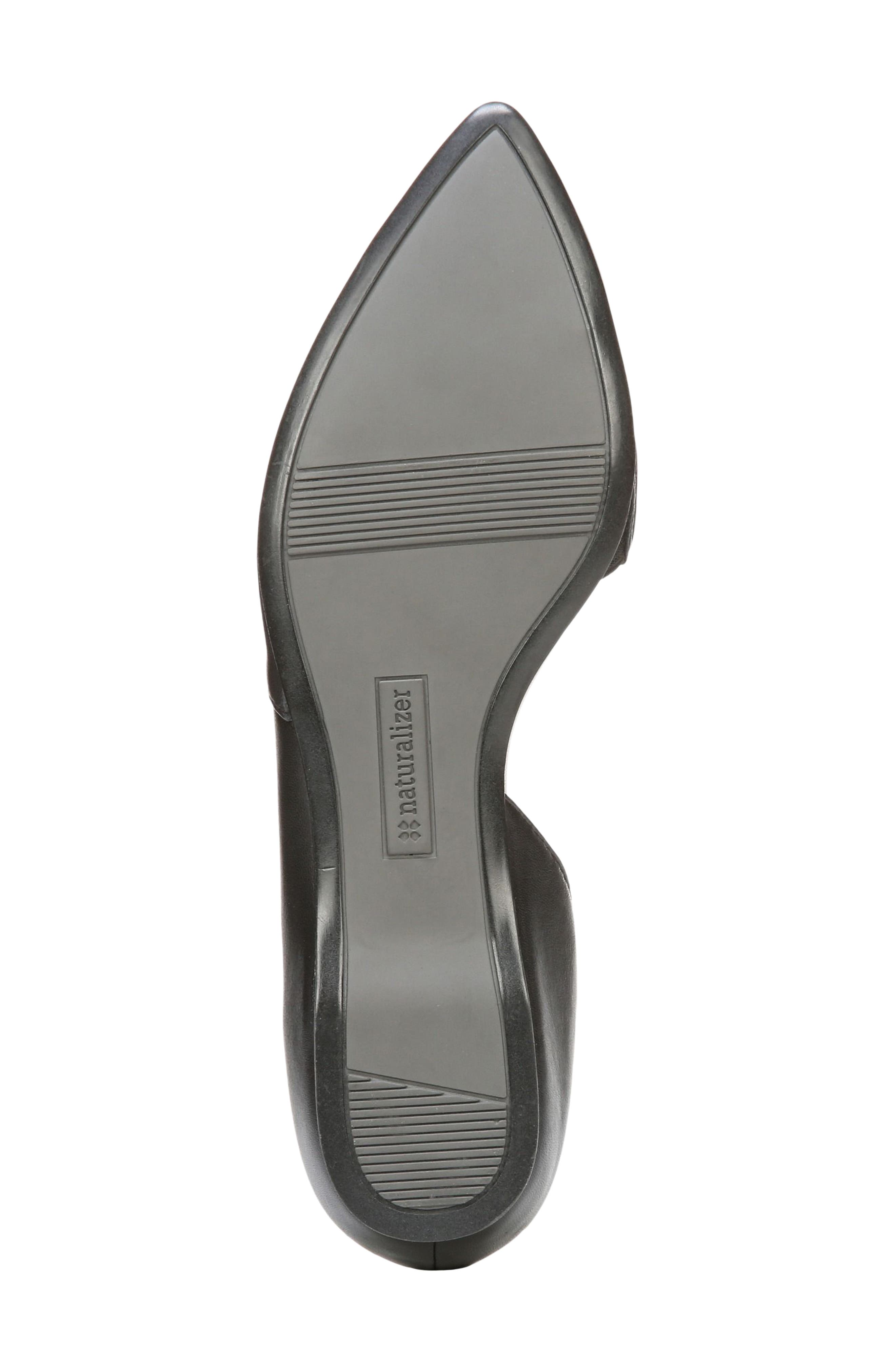 NATURALIZER, Samantha Half d'Orsay Flat, Alternate thumbnail 4, color, BLACK LEATHER