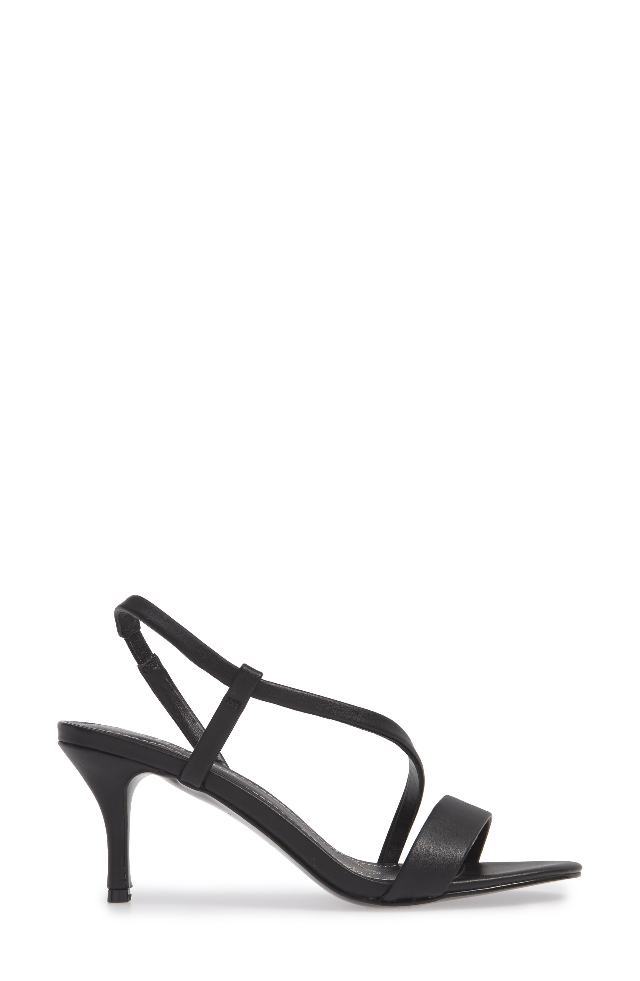 CHARLES BY CHARLES DAVID, Bermuda Asymmetrical Sandal, Alternate thumbnail 3, color, BLACK FAUX LEATHER