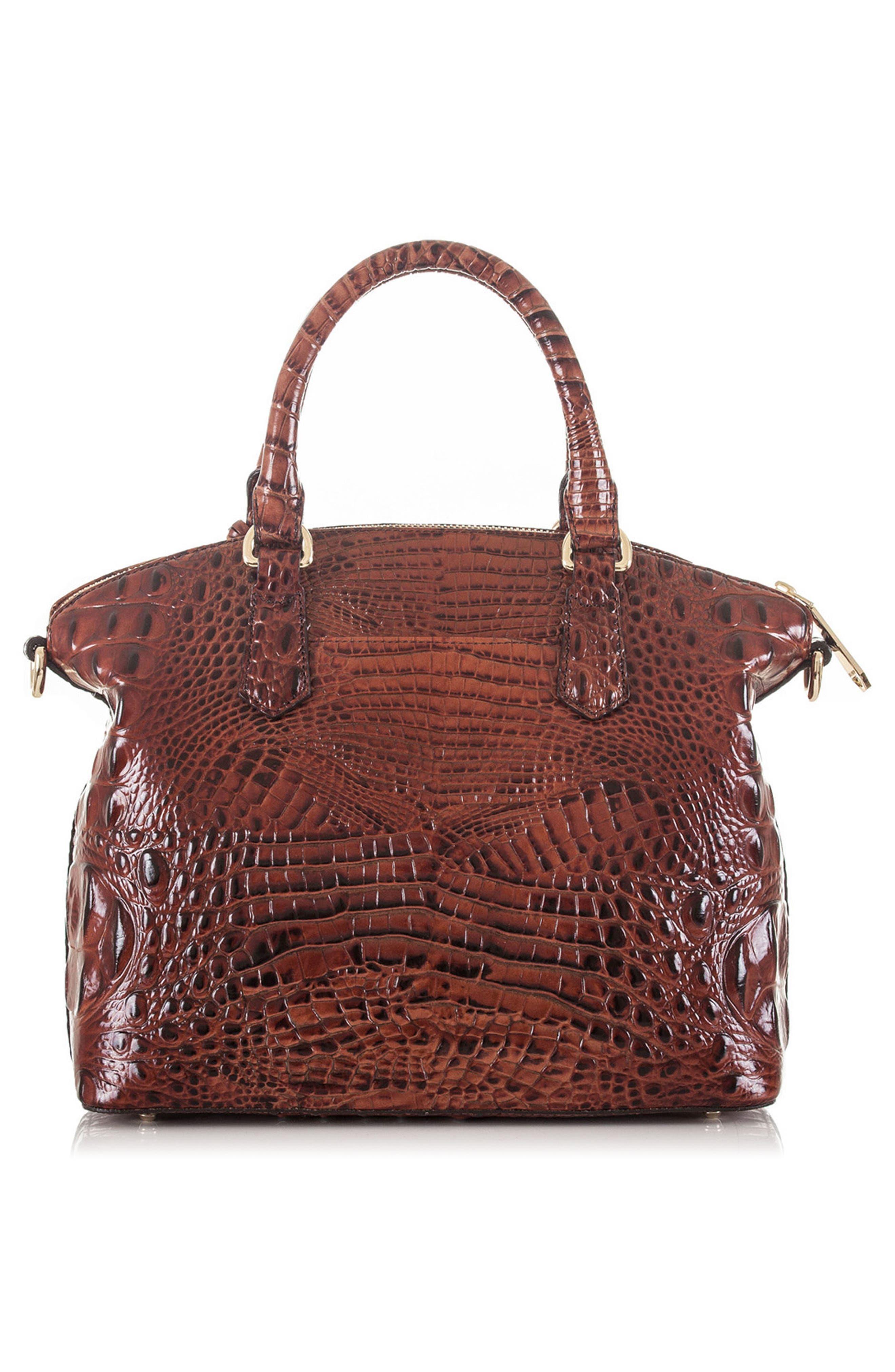 BRAHMIN, 'Medium Duxbury' Croc Embossed Leather Satchel, Alternate thumbnail 2, color, PECAN