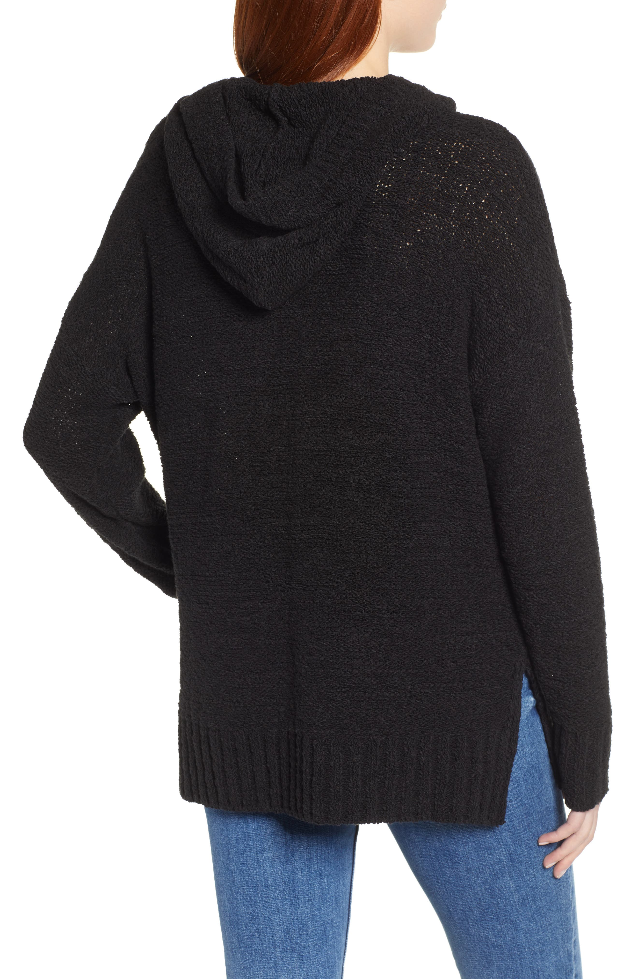 CASLON<SUP>®</SUP>, Beachy Hooded Knit Sweater, Alternate thumbnail 2, color, 001