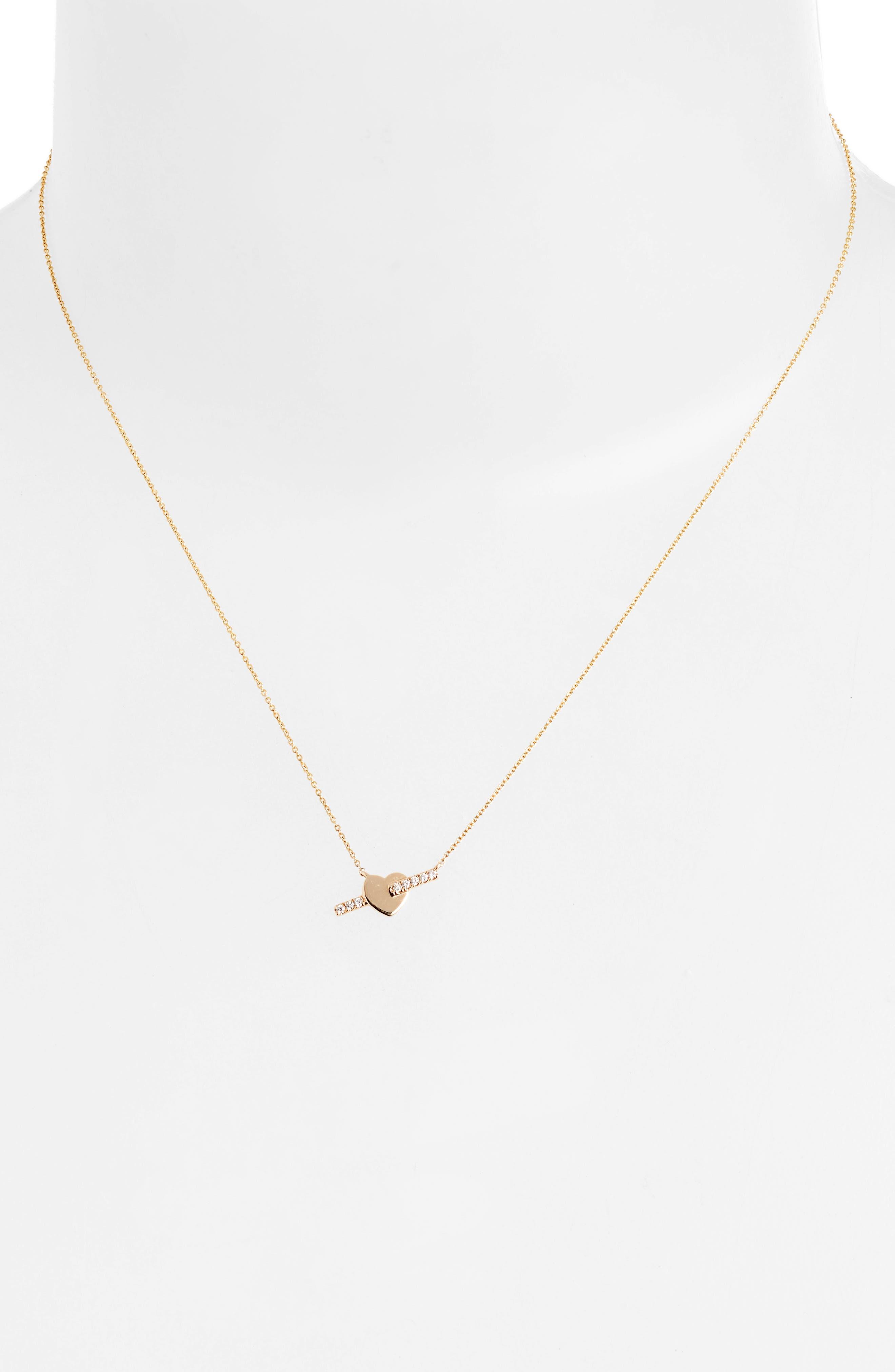 DANA REBECCA DESIGNS, Dana Rebecca Livi Gold Heart Bar Diamond Necklace, Alternate thumbnail 2, color, YELLOW GOLD/ DIAMOND