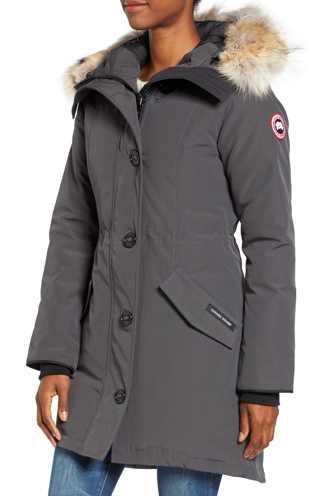 CANADA GOOSE, Rossclair Genuine Coyote Fur Trim Down Parka, Alternate thumbnail 4, color, GRAPHITE