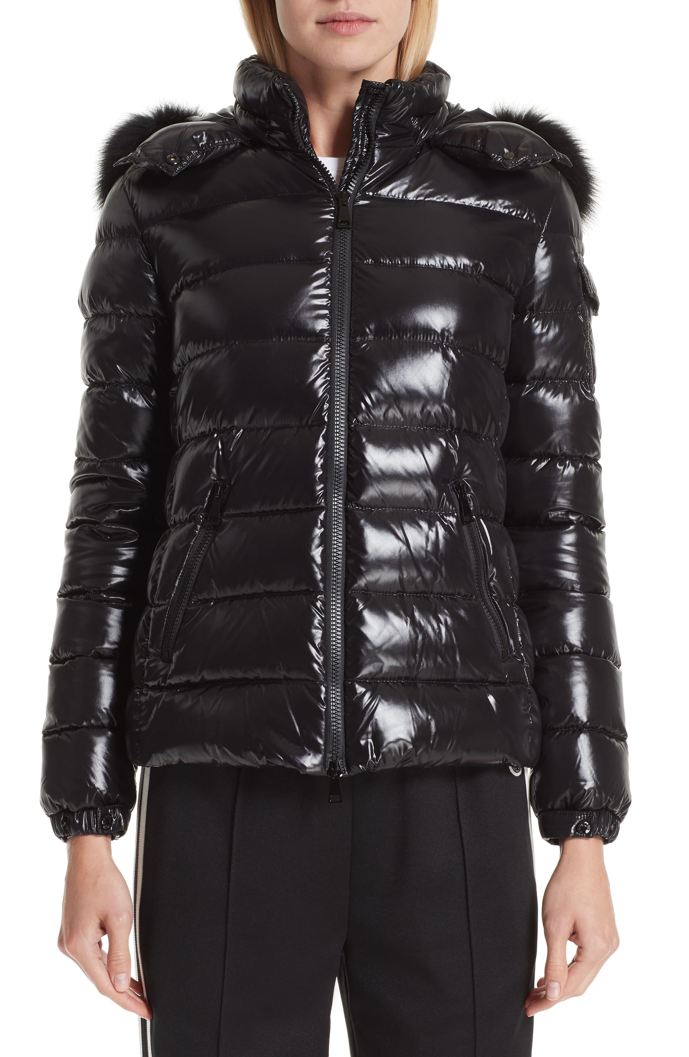 Moncler Badyfur Down Puffer Jacket With Detachable Genuine Fox Fur Trim, Black