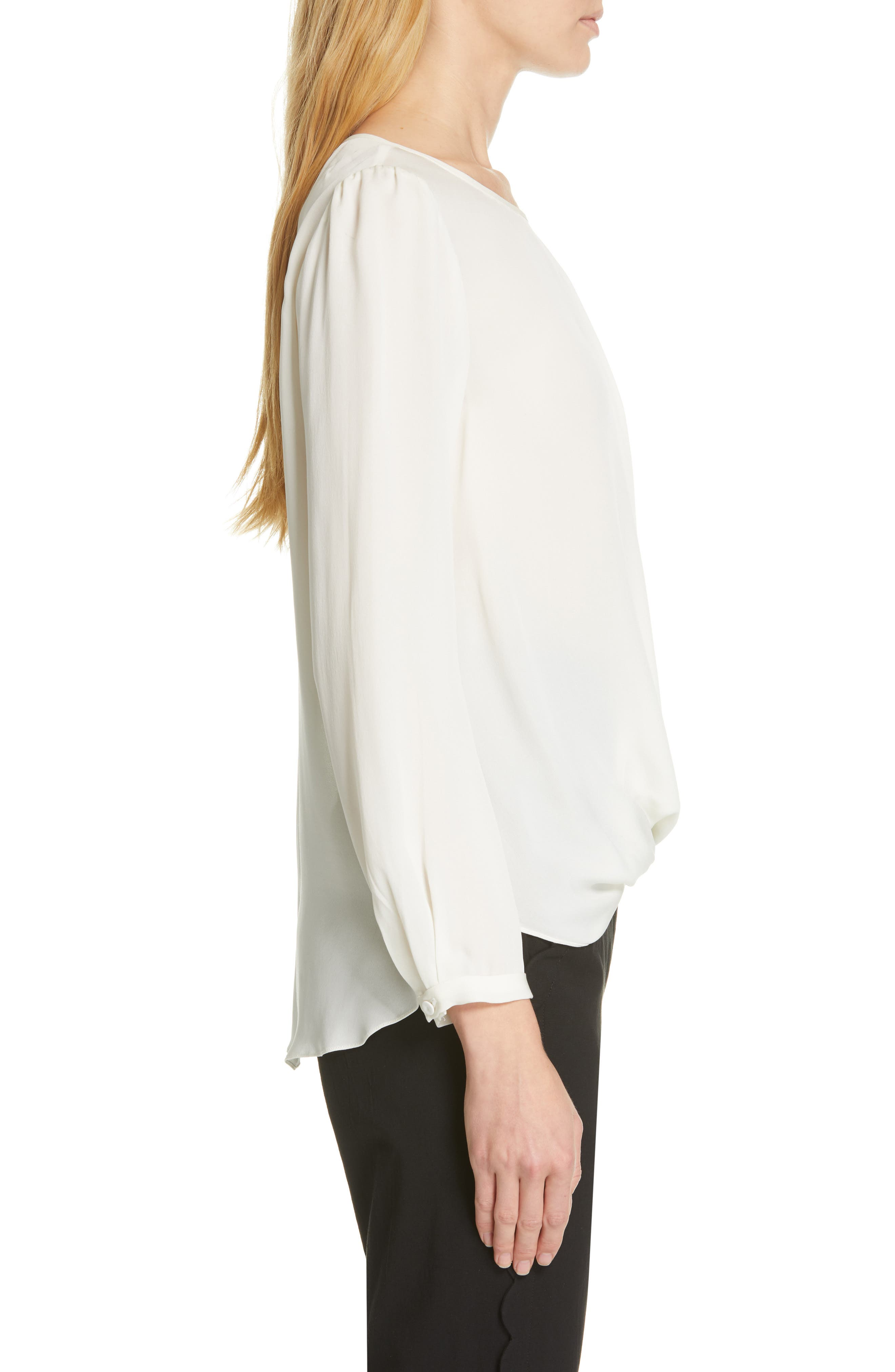 TAILORED BY REBECCA TAYLOR, Silk Georgette Top, Alternate thumbnail 3, color, SNOW
