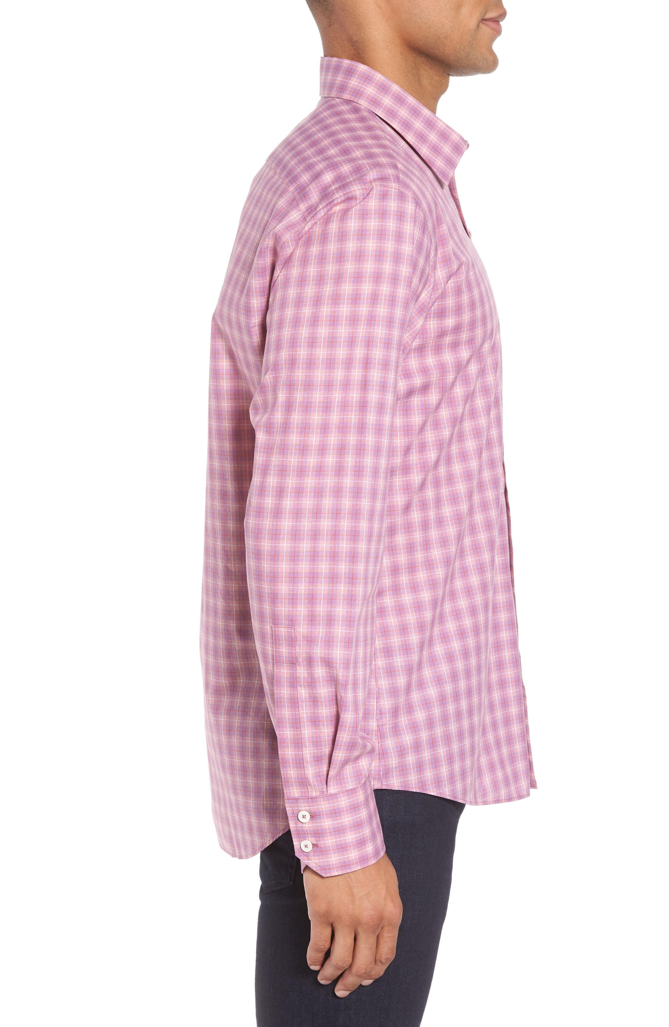 ZACHARY PRELL, Duran Regular Fit Sport Shirt, Alternate thumbnail 3, color, PINK
