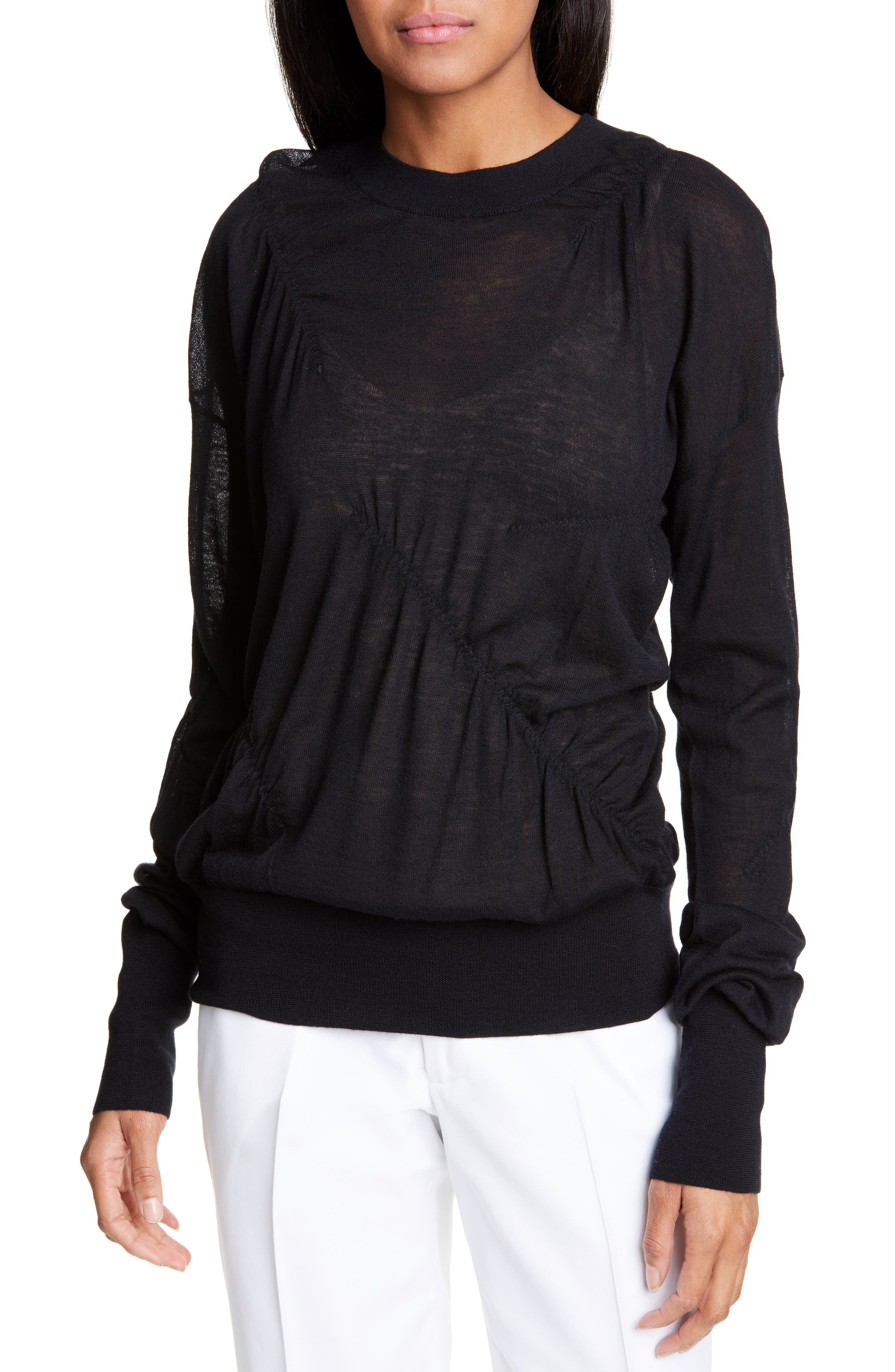 HELMUT LANG, Ruched Seam Detail Cashmere Sweater, Main thumbnail 1, color, BLACK