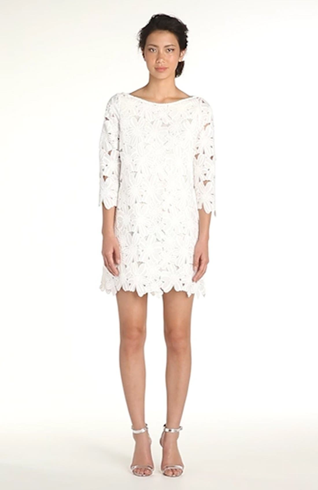 FELICITY & COCO, Belza Floral Lace Shift Dress, Alternate thumbnail 12, color, 100
